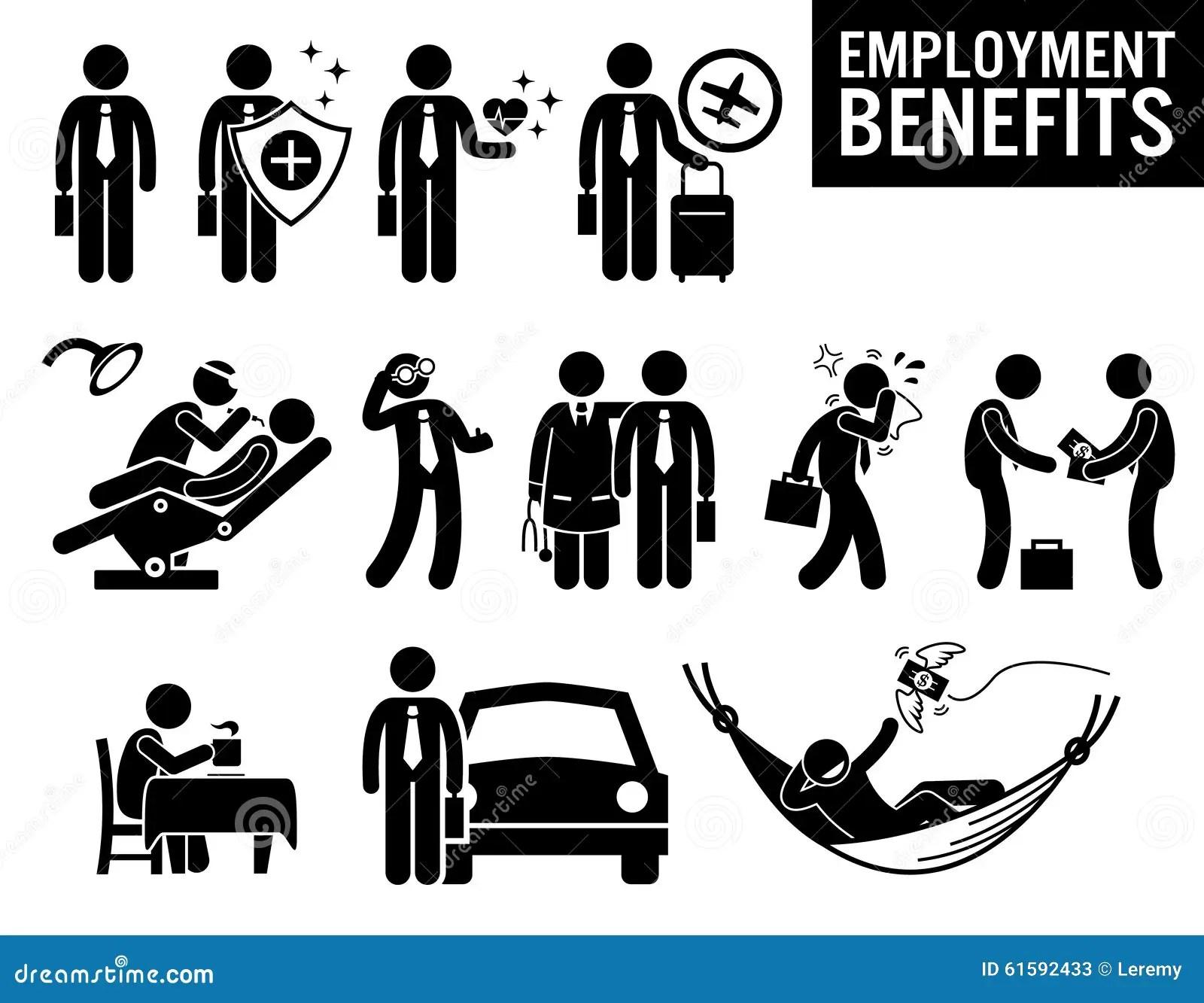 Worker Employment Job Benefits Clipart Stock Vector