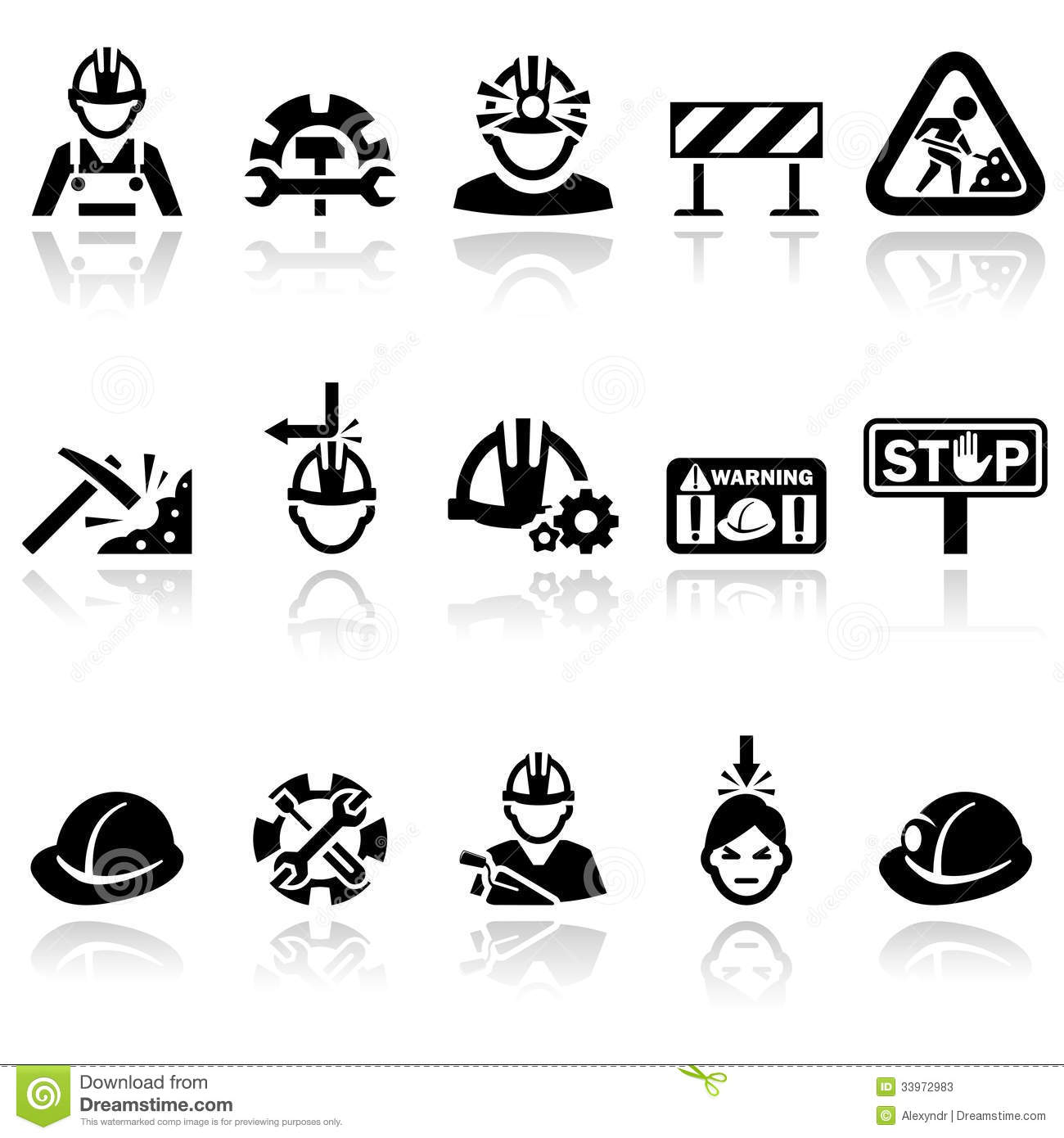 Workers Vector Icons Set Stock Photos