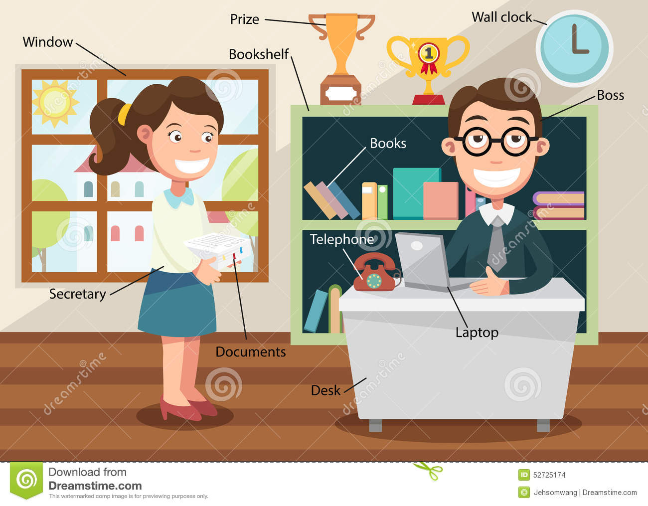 Working In Office With Related Vocabulary Index Stock