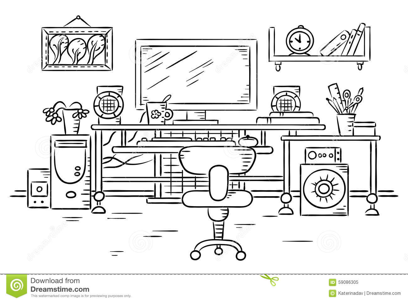 Workplace With A Computer Table Stock Vector