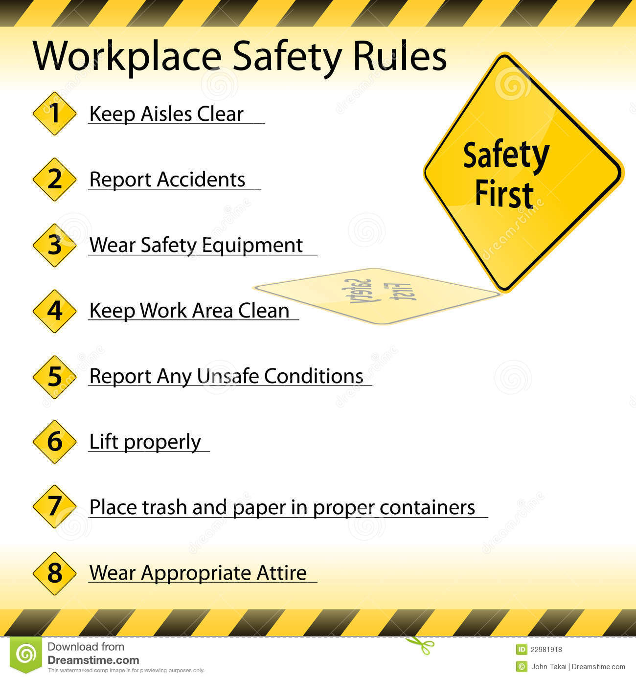Workplace Safety Rules Stock Vector Image Of Symbol