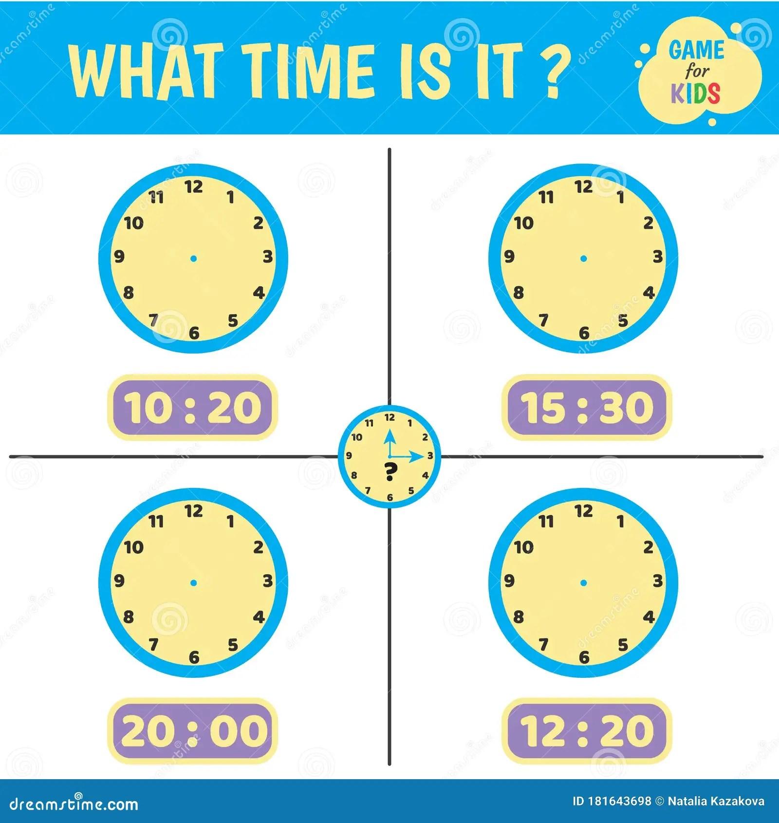 Worksheet Children Clock Stock Vector Illustration Of