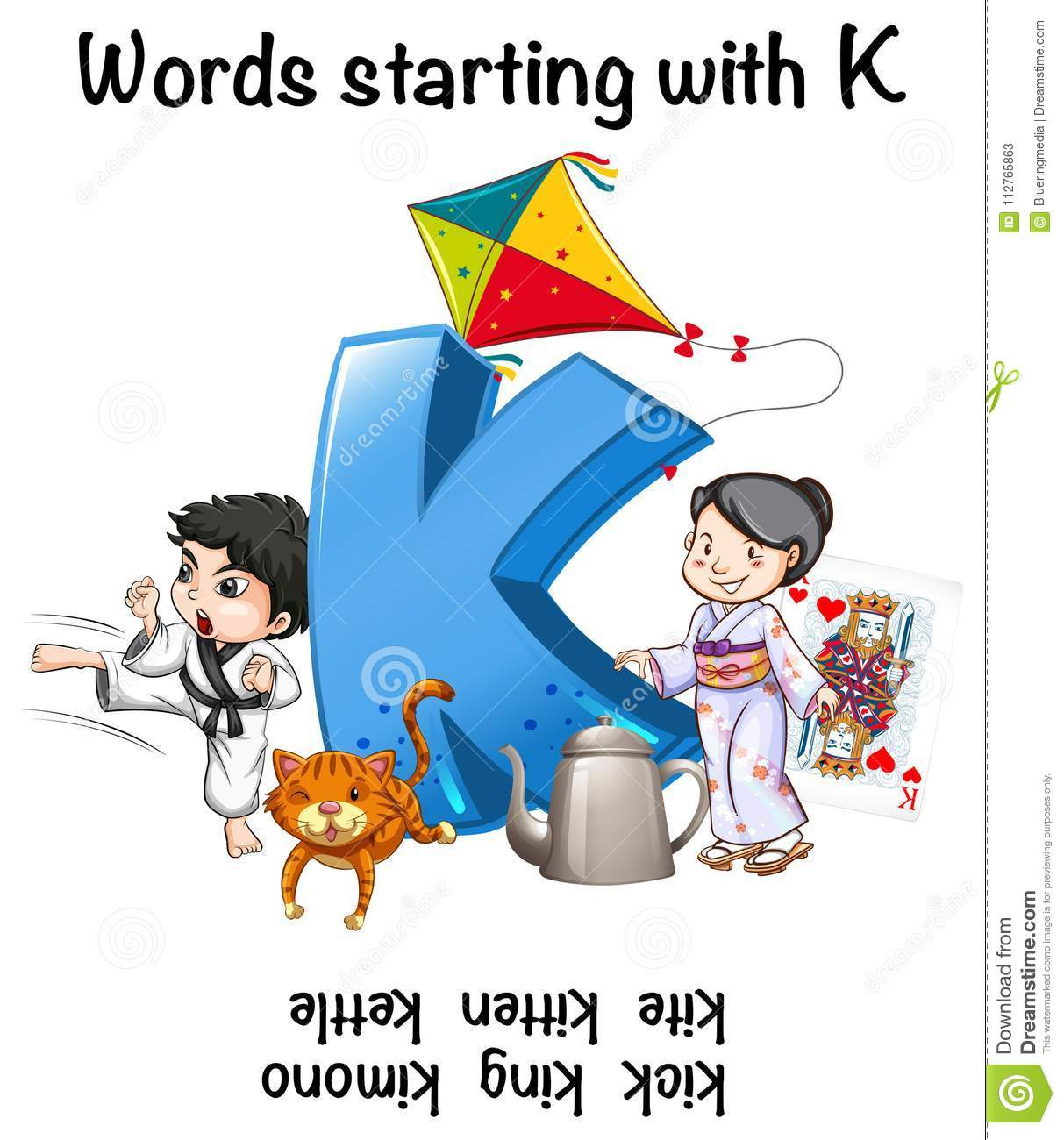 Worksheet Design For Words Starting With K Stock Vector
