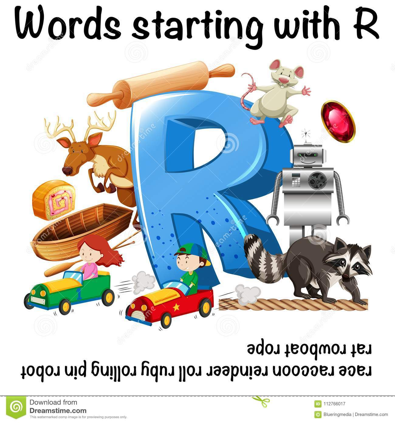 Worksheet Design For Words Starting With R Stock Vector