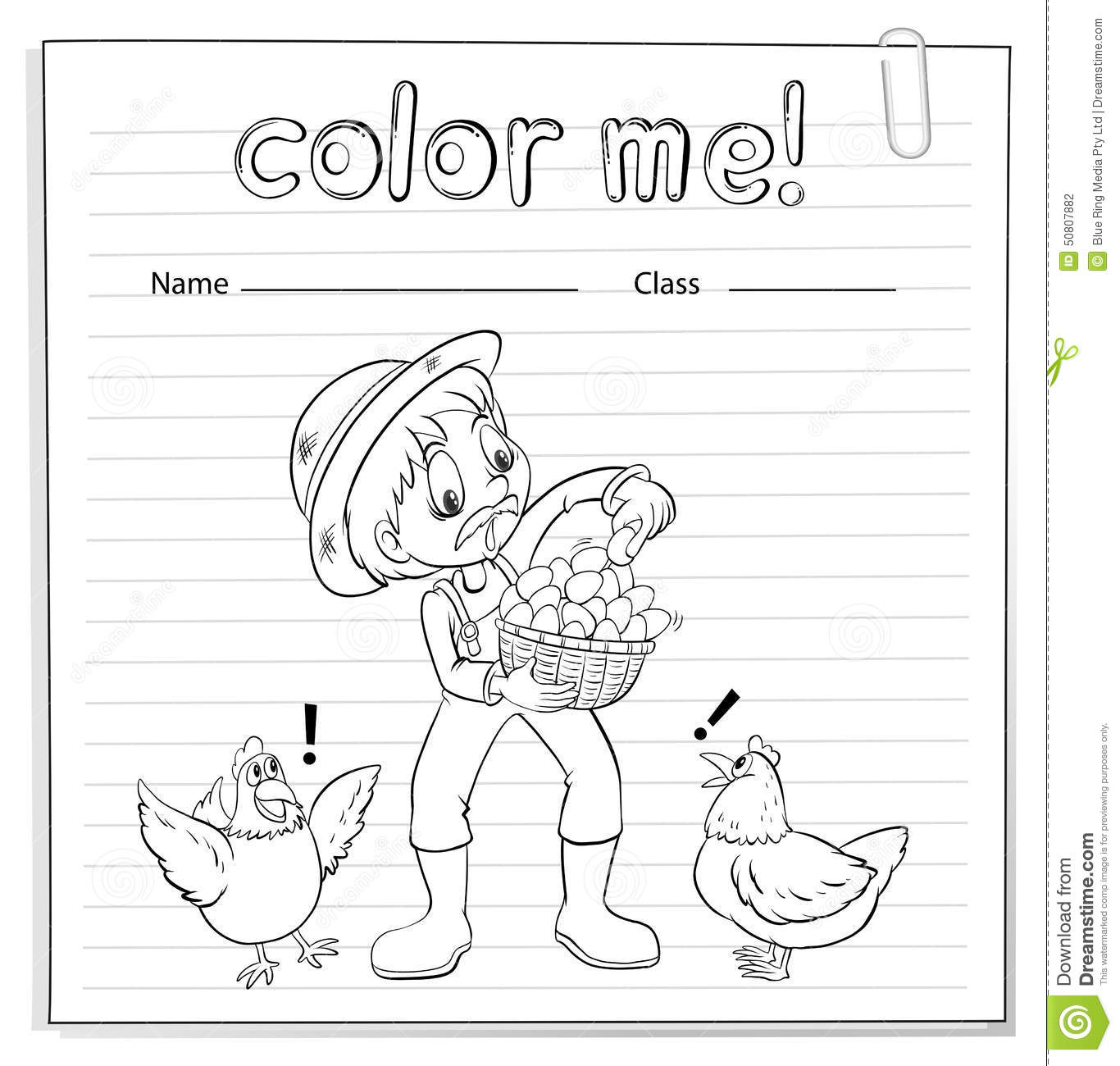 A Worksheet With A Farmer Stock Vector