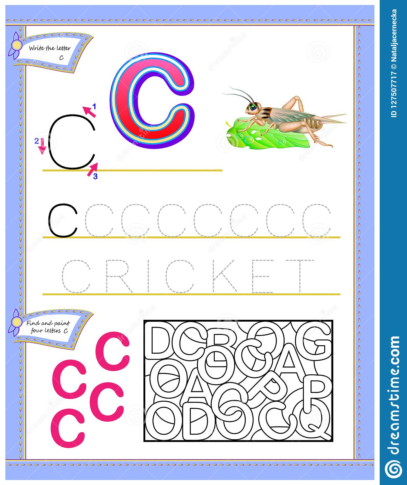 Worksheet For Kids With Letter C For Study English