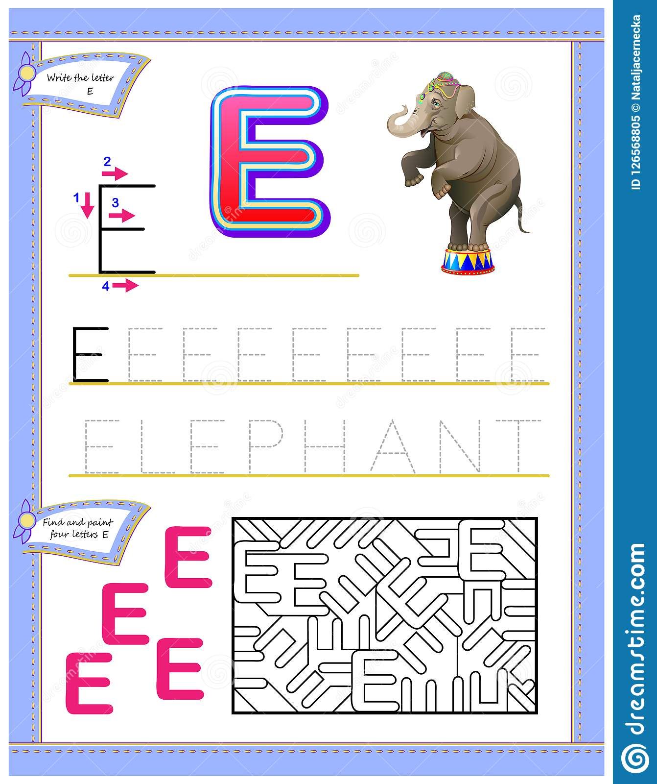 Worksheet For Kids With Letter E For Study English