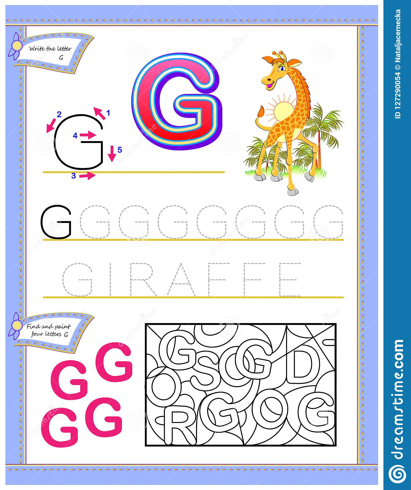Worksheet For Kids With Letter G For Study English