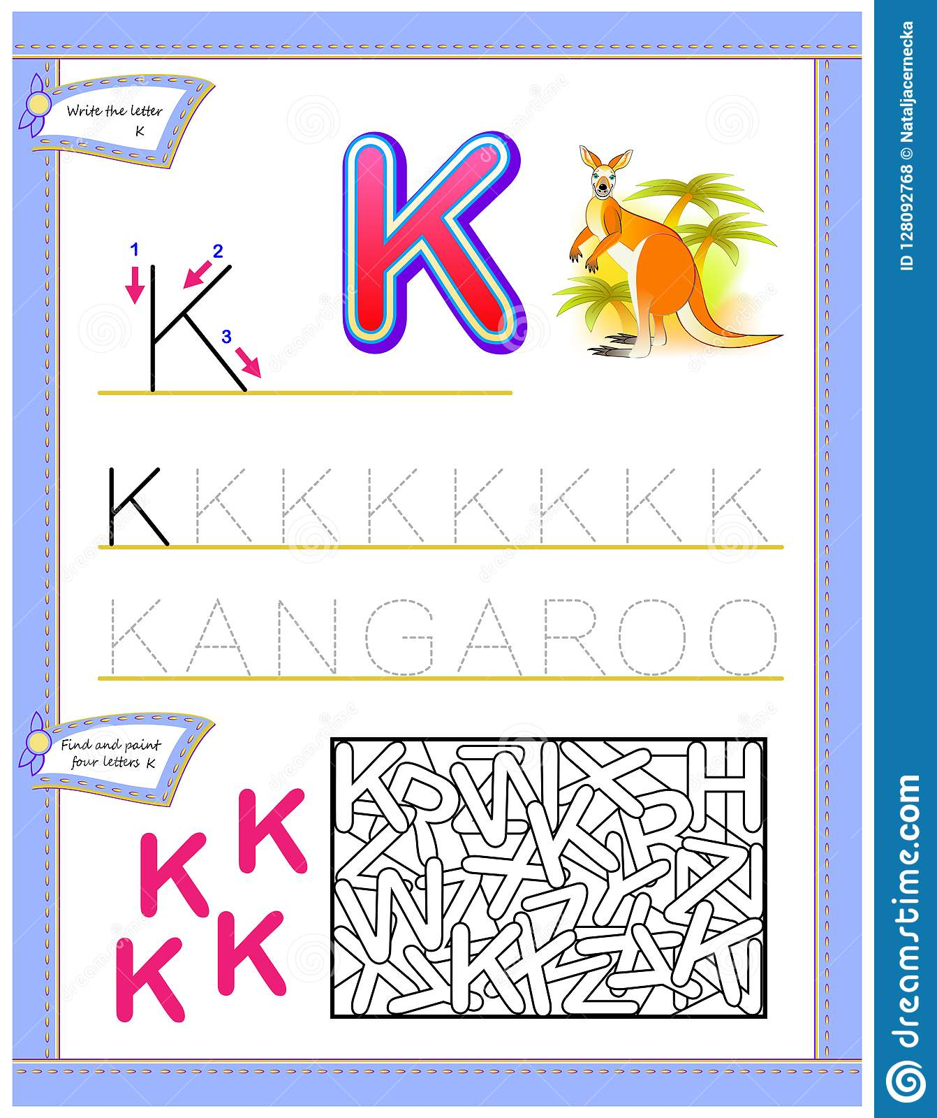 Worksheet For Kids With Letter K For Study English