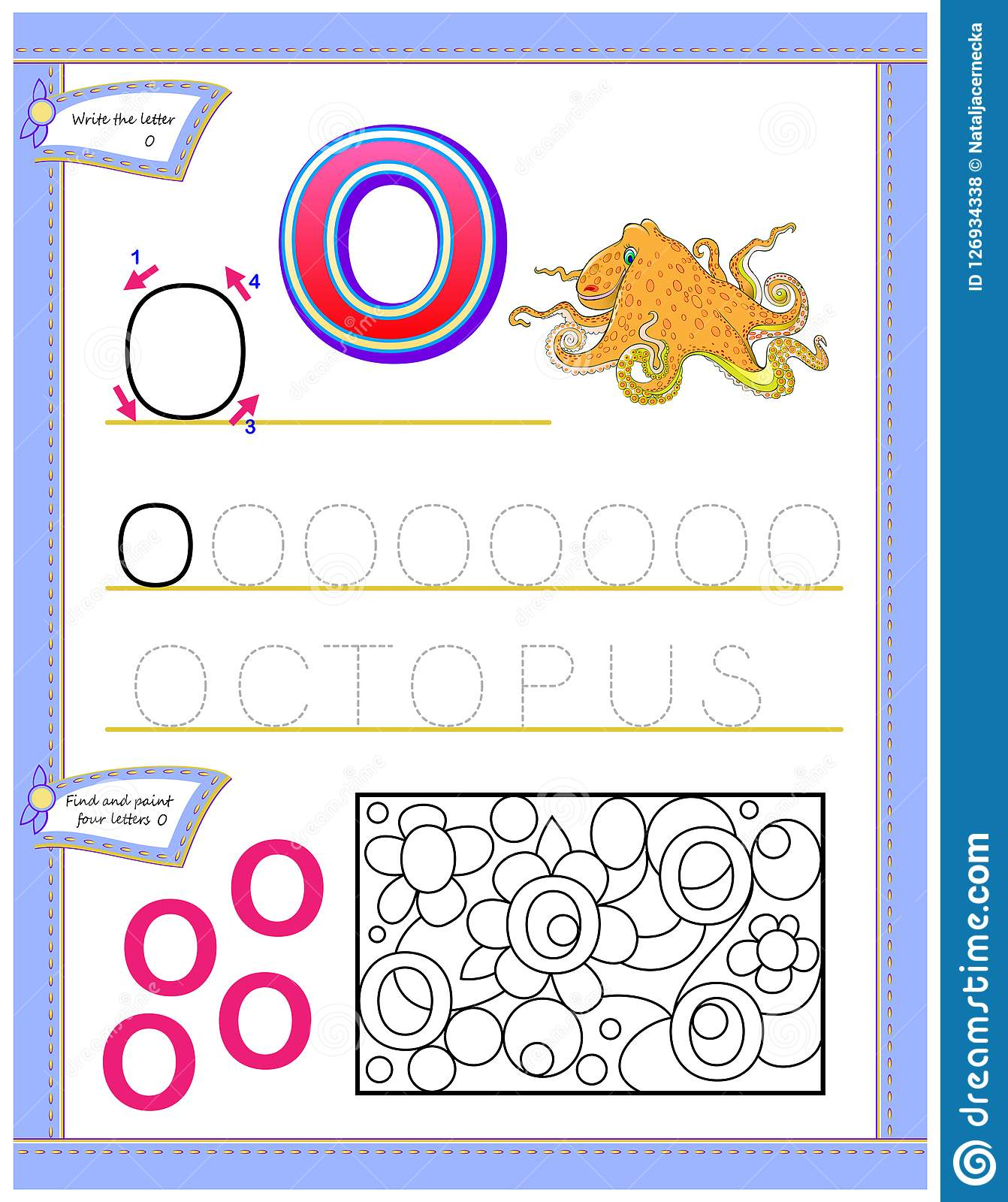 Worksheet For Kids With Letter O For Study English