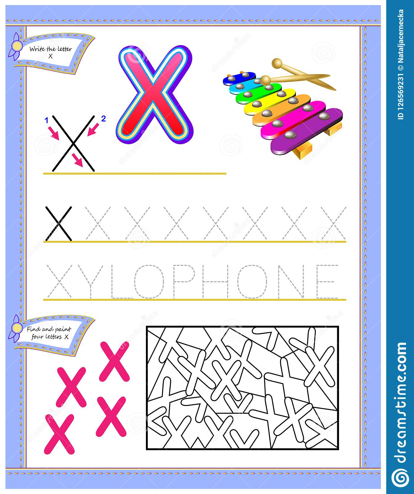 Worksheet For Kids With Letter X For Study English
