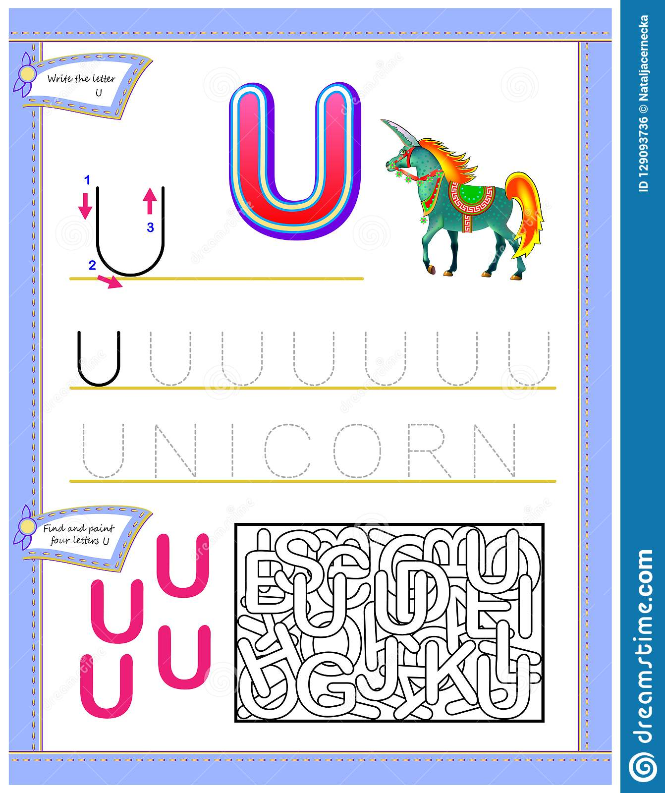 Worksheet For Kids With Letter U For Study English
