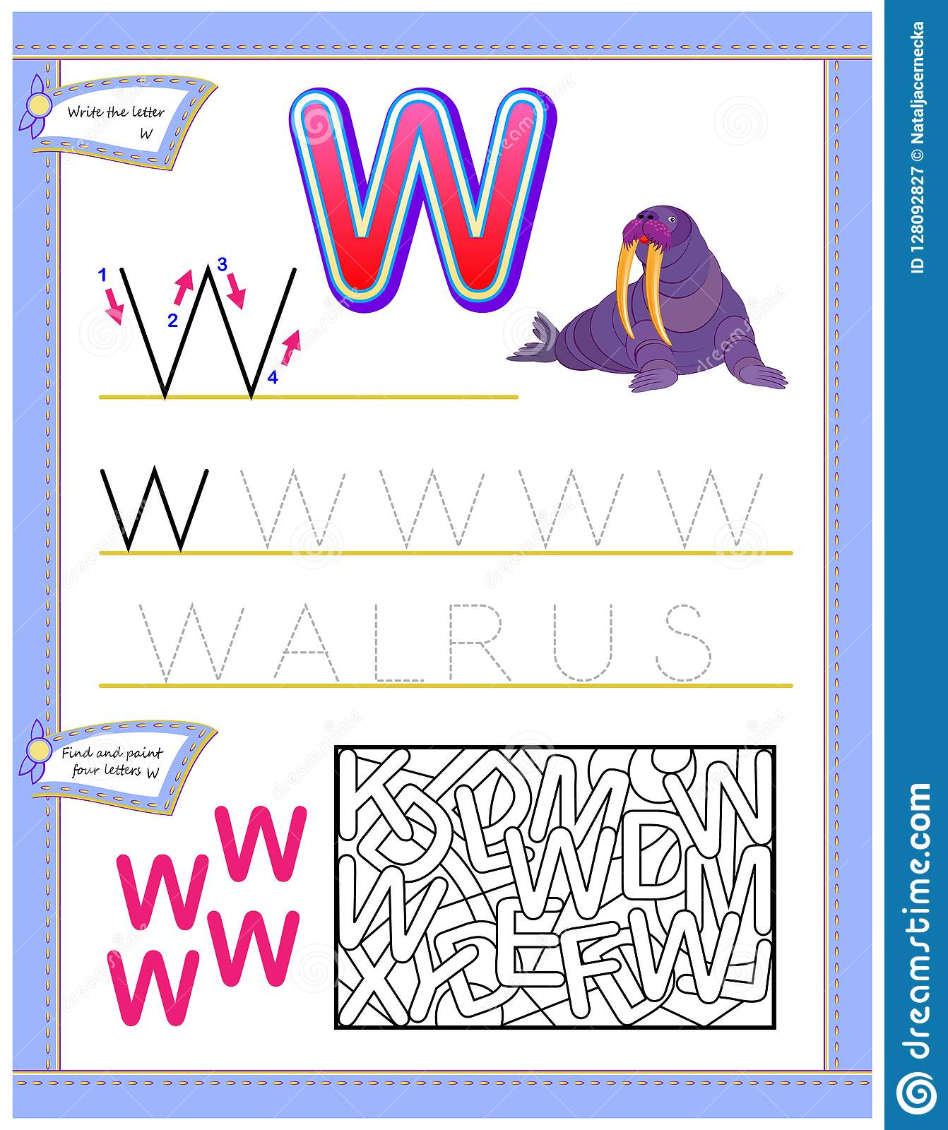 Worksheet For Kids With Letter W For Study English