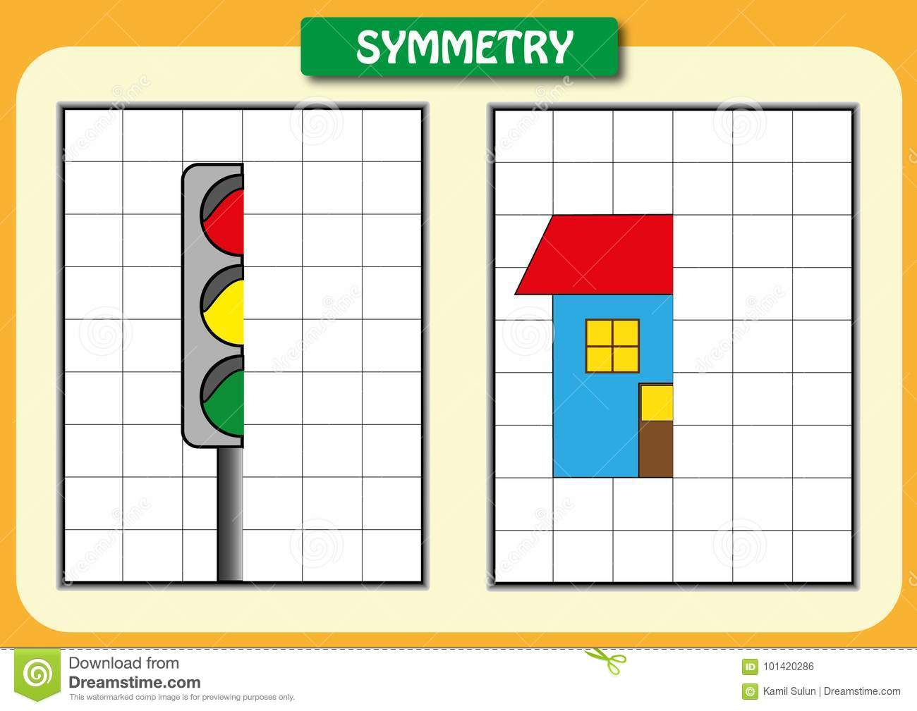 Draw The Other Half Of Each Symmetrical Pictures Stock