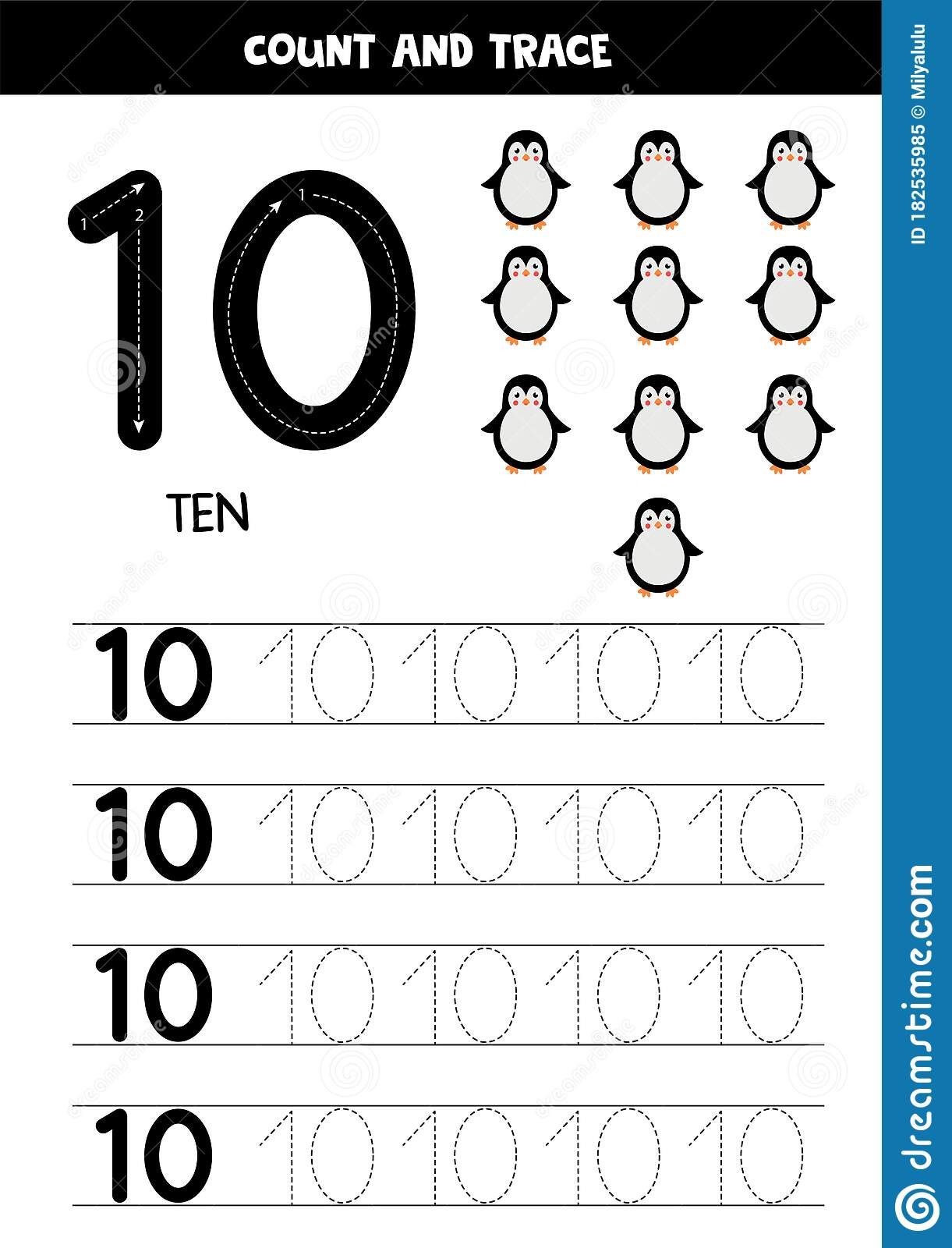 Worksheet For Kids Seven Cute Cartoon Penguins Tracing
