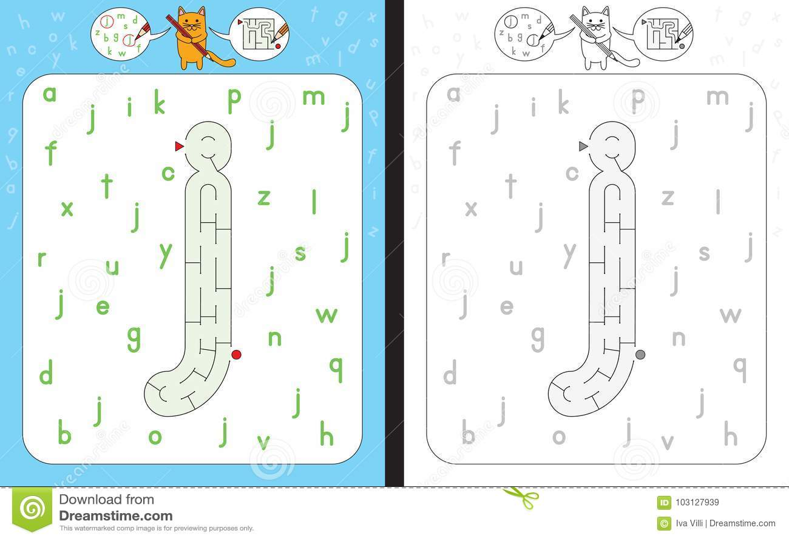 Maze Letter J Stock Vector Illustration Of Activity