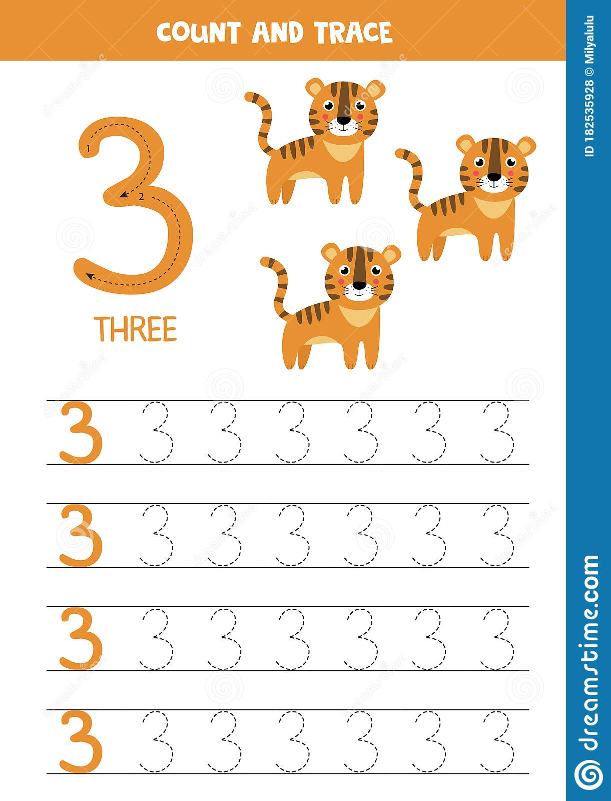 Worksheet For Learning Numbers With Cute Elephants Number