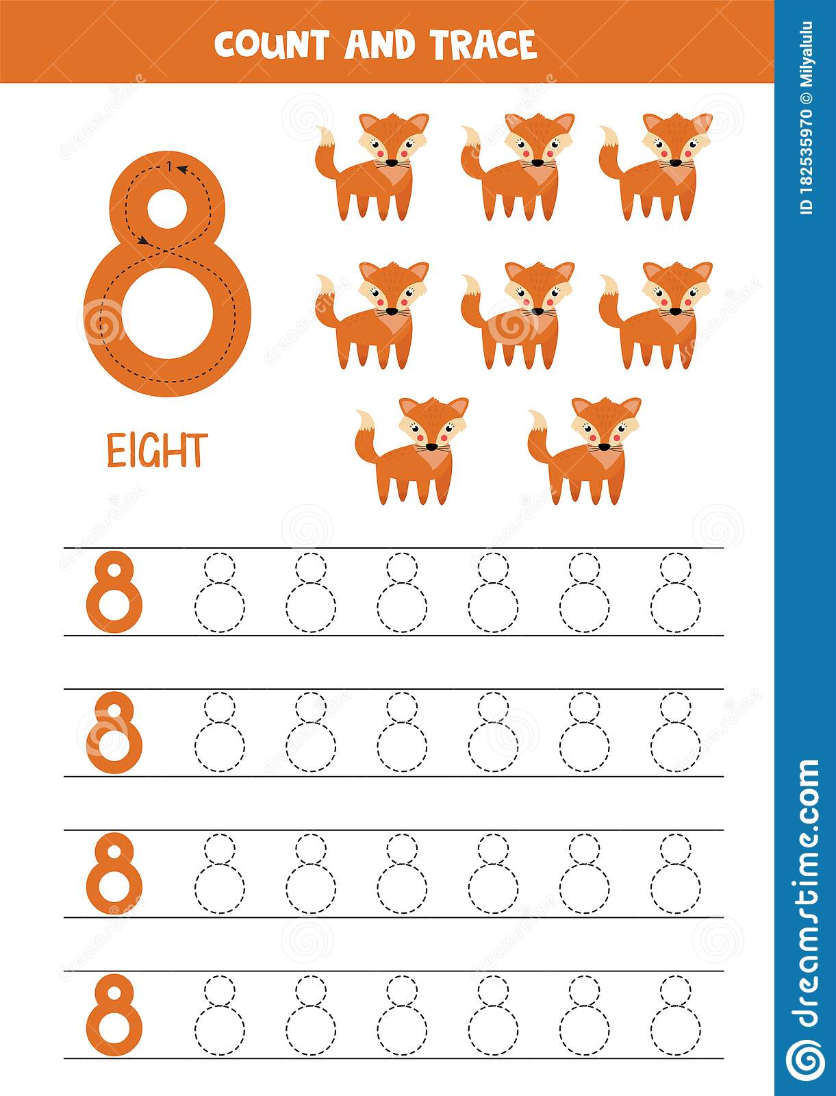 Worksheet For Learning Numbers With Cute Foxes Number 8