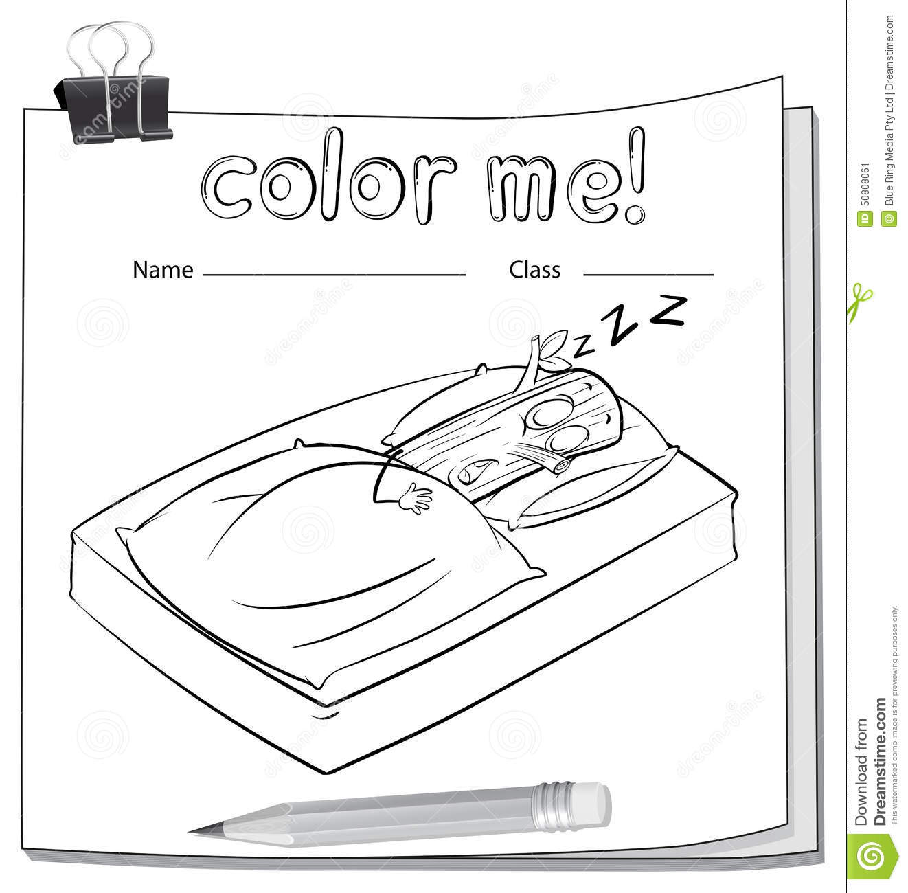 A Worksheet With A Log Sleeping Stock Vector