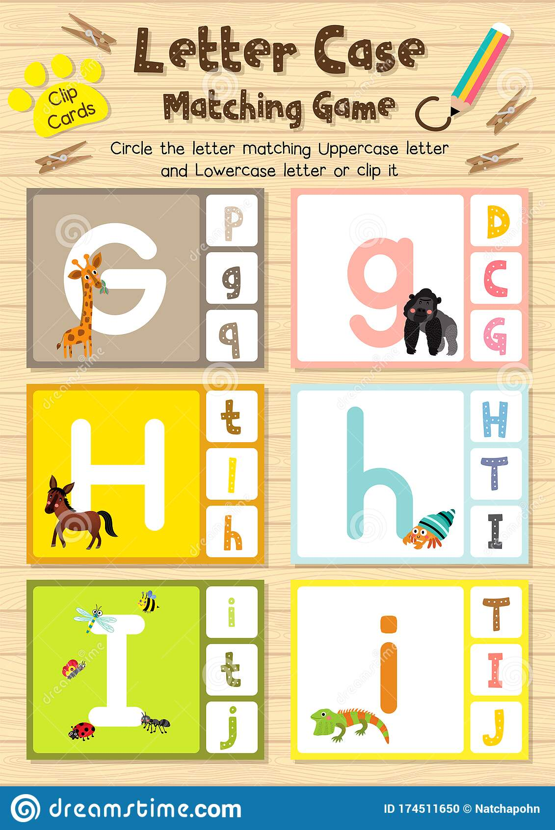 Worksheet Matching Letter Case Ghi Stock Vector