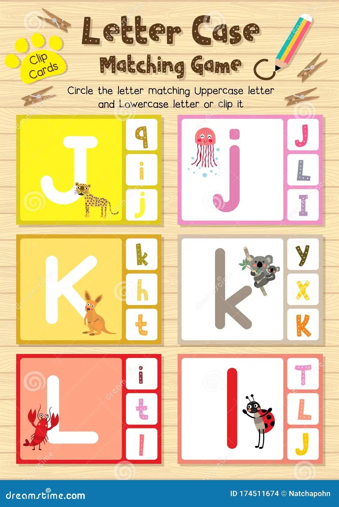 Worksheet Matching Letter Case Jkl Stock Illustration