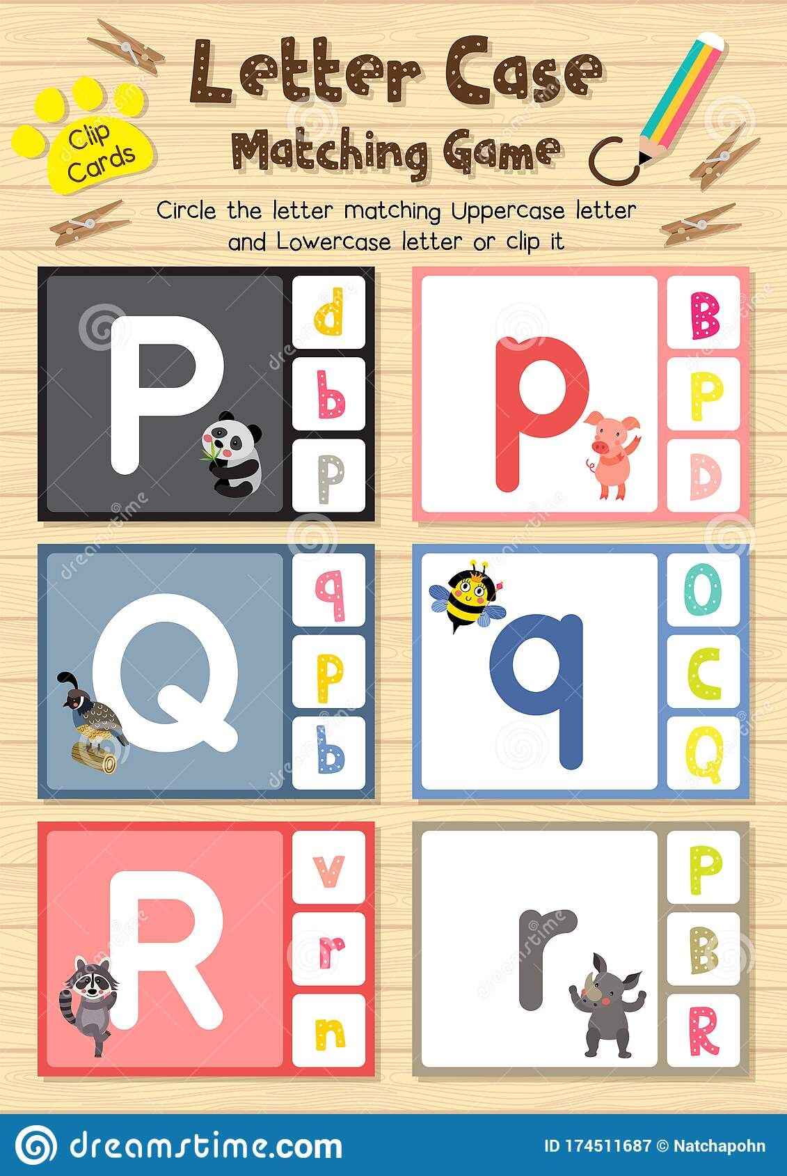Worksheet Matching Letter Case Pqr Stock Vector