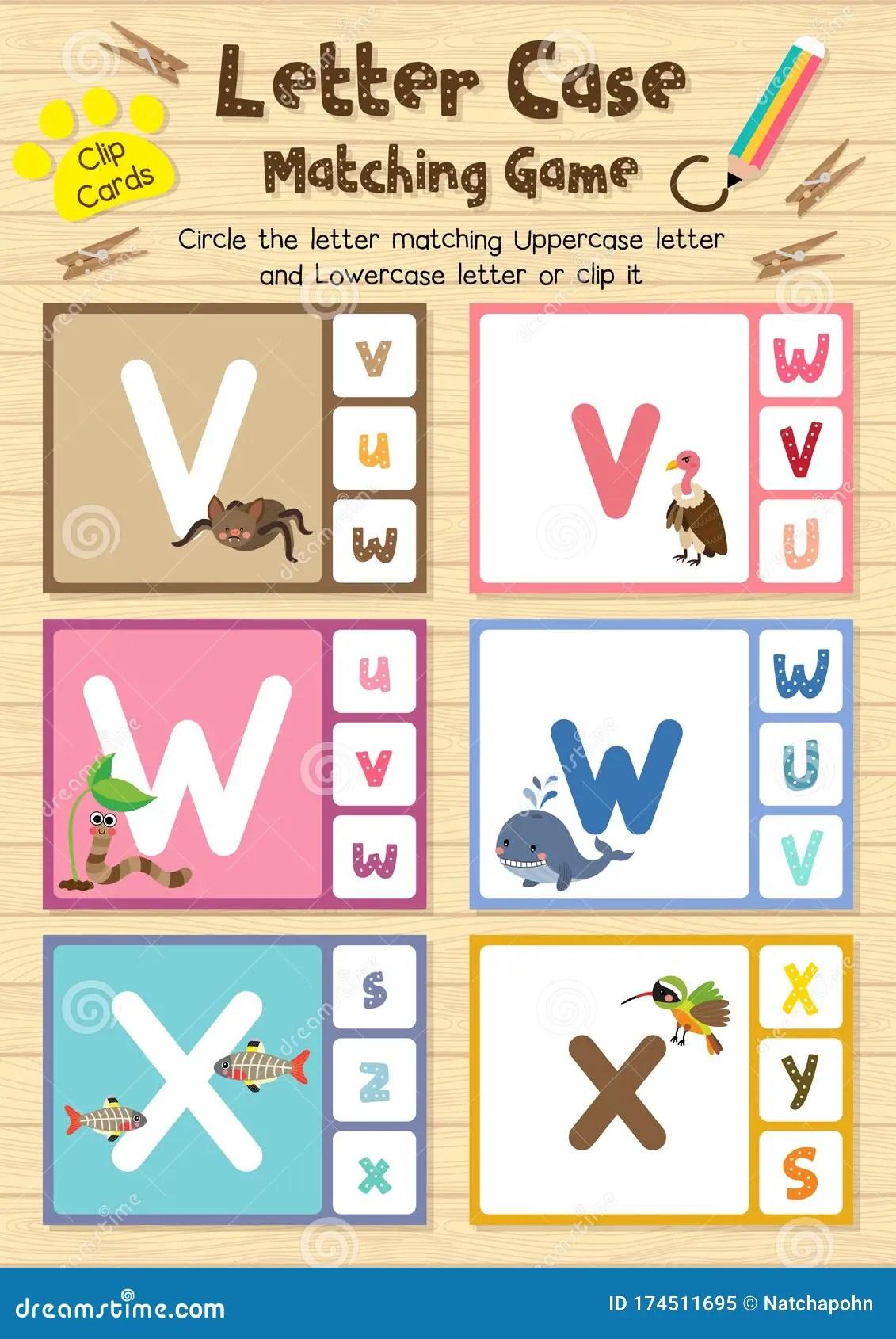 Worksheet Matching Letter Case Vwx Stock Vector