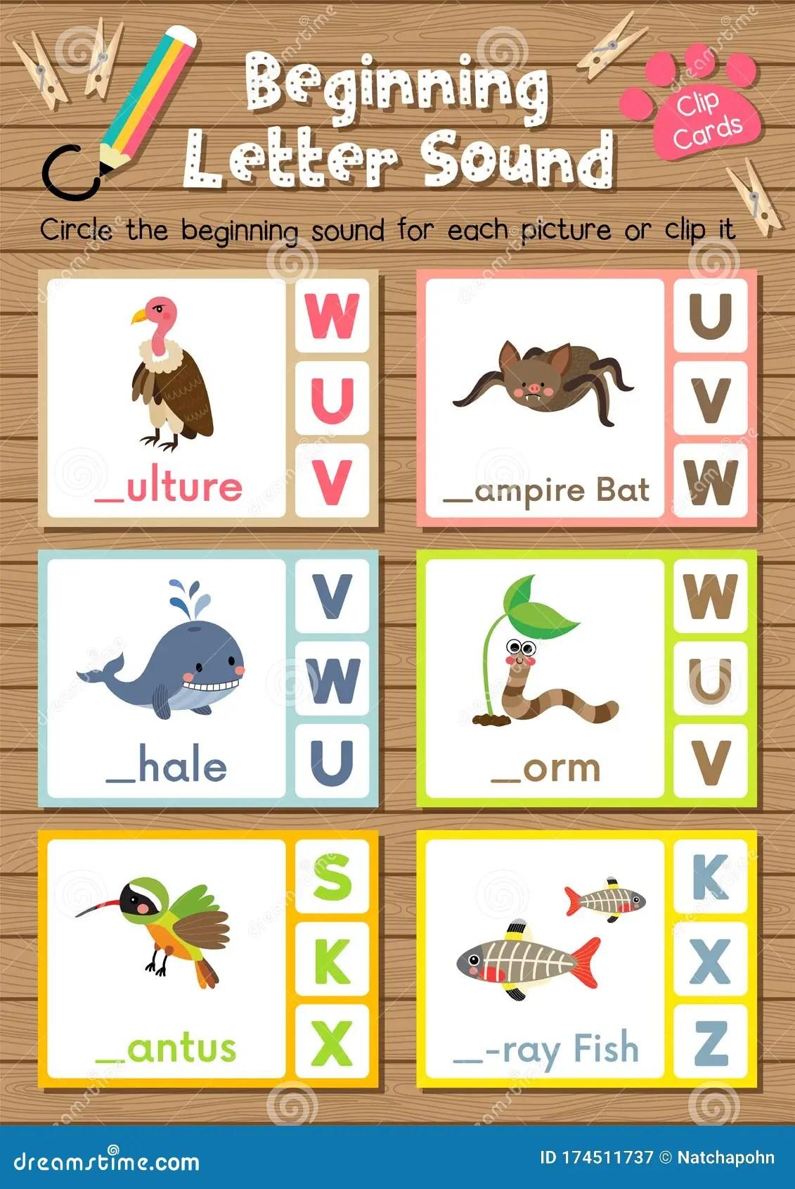 Worksheet Matching Vocabulary Vwx Stock Vector