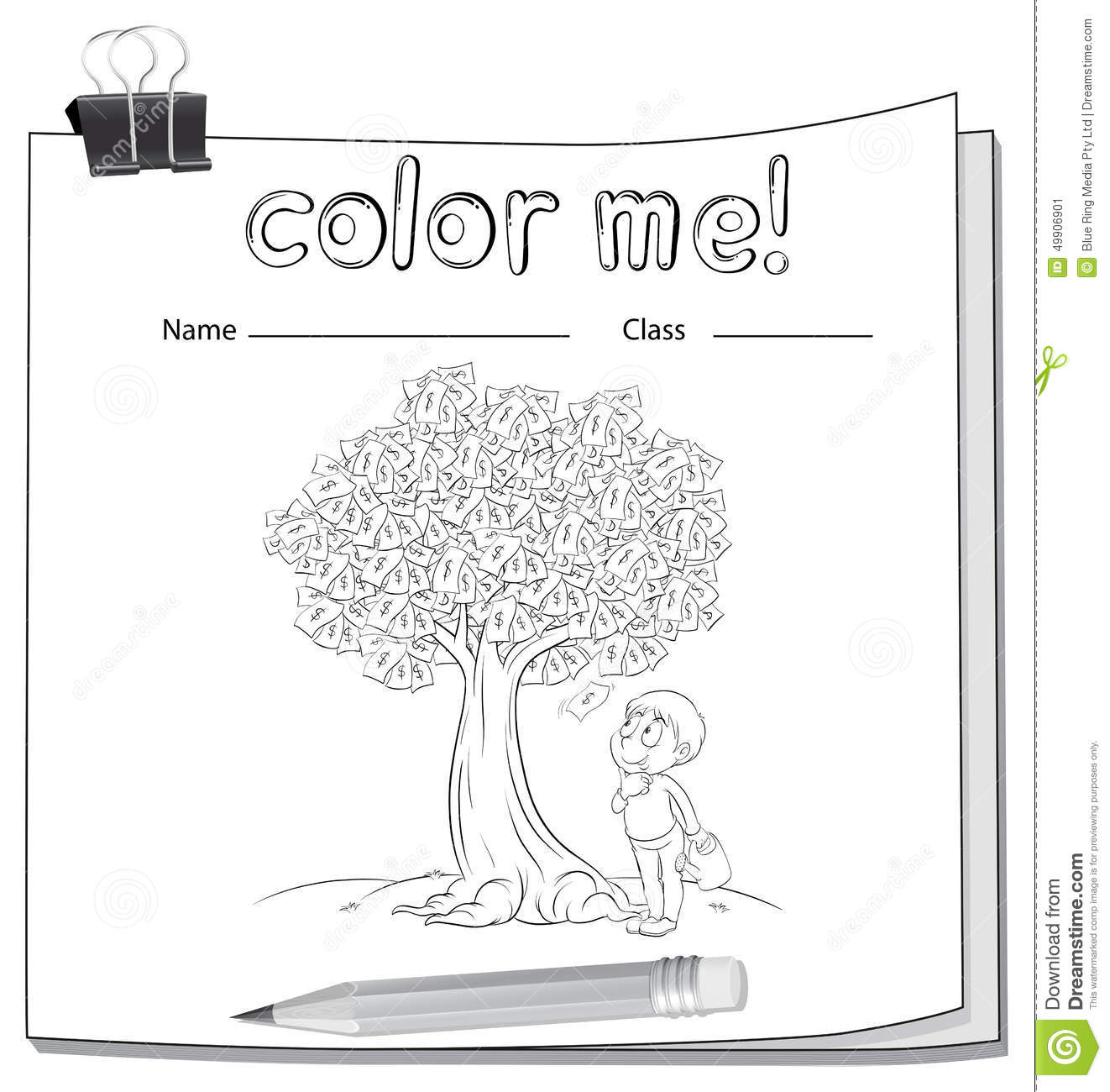 A Worksheet With A Money Tree And A Boy Stock Vector