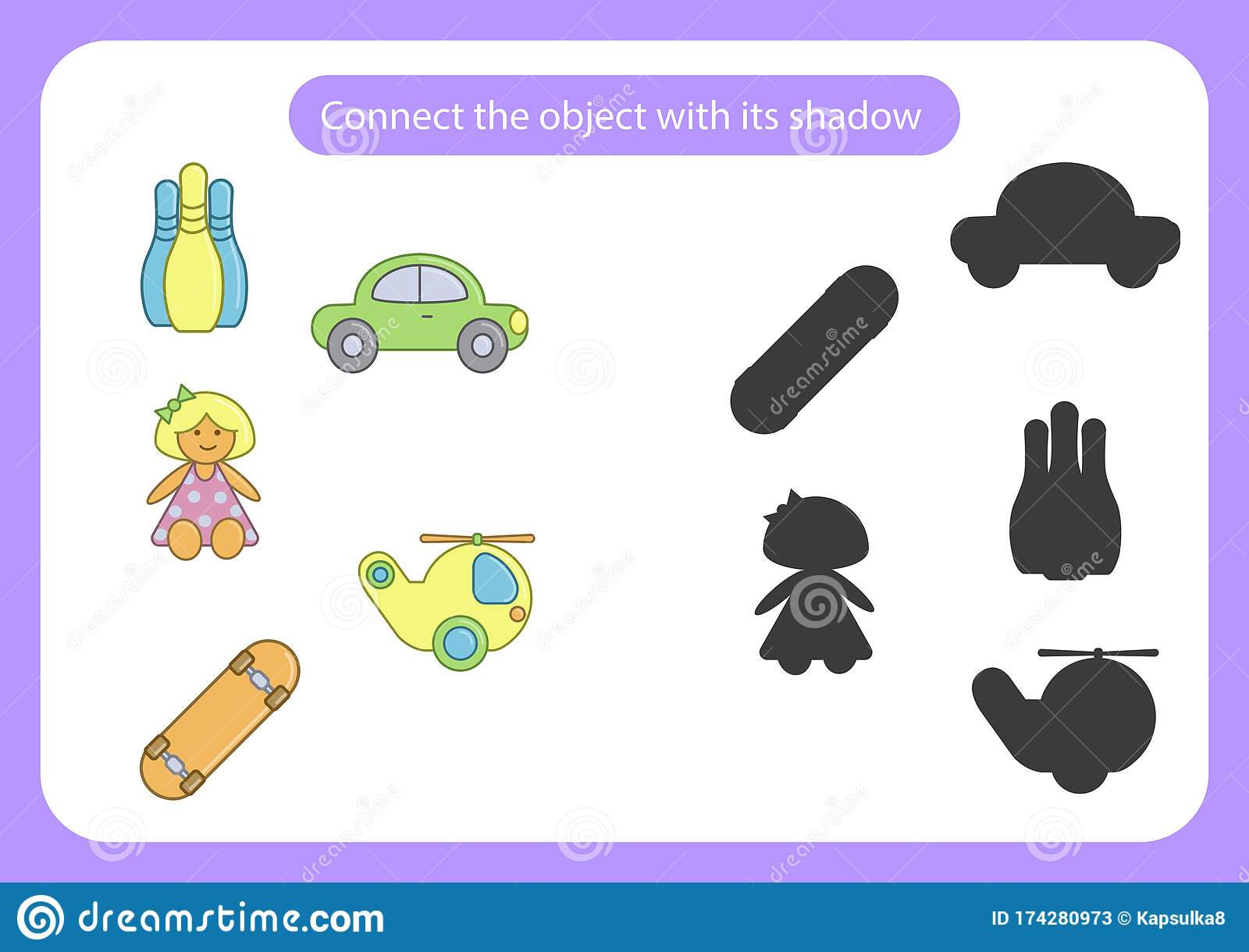 Worksheet Onnect The Toy With Its Shadow Stock Vector