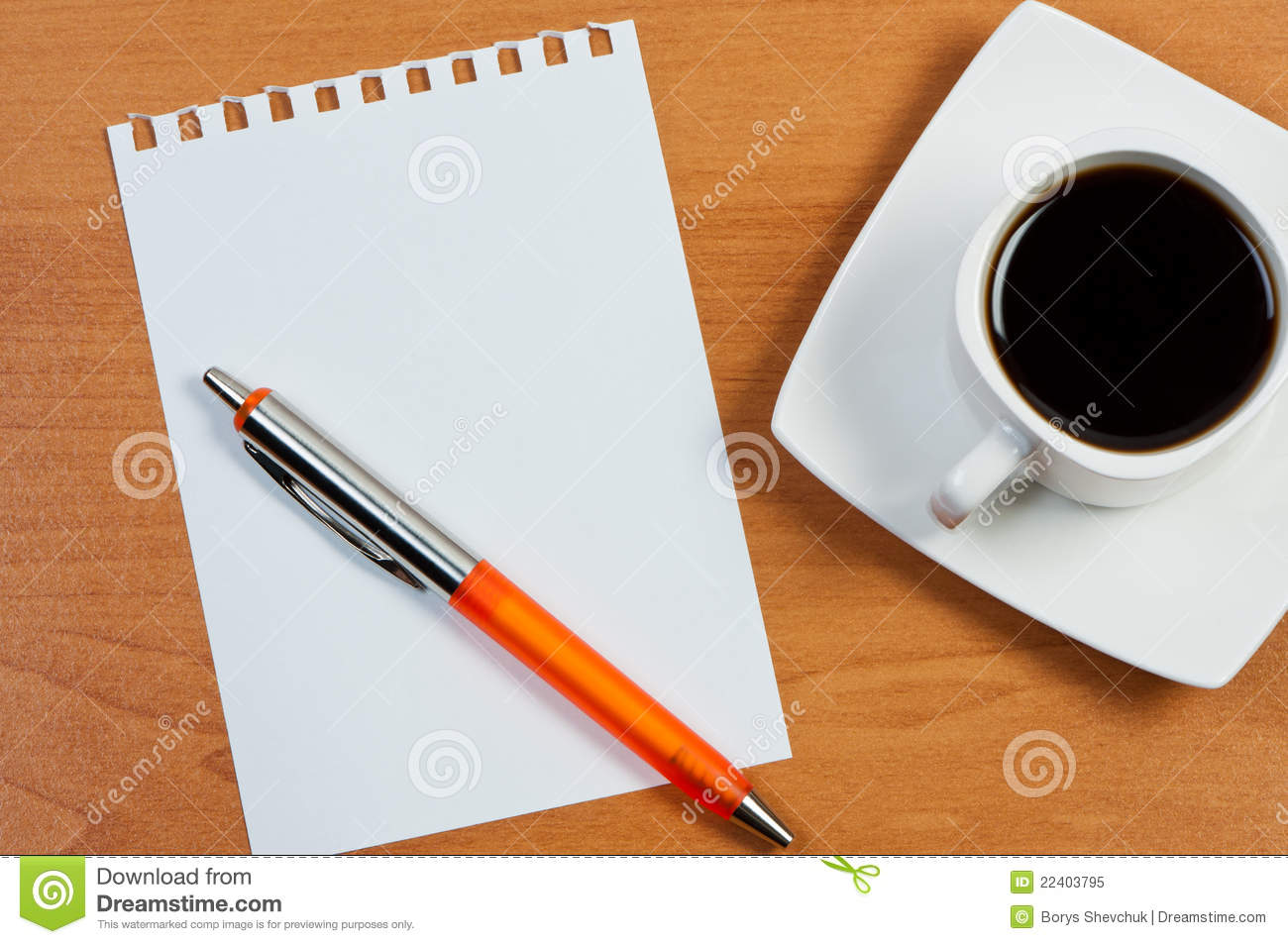 Worksheet With Pen And Coffee Stock Image