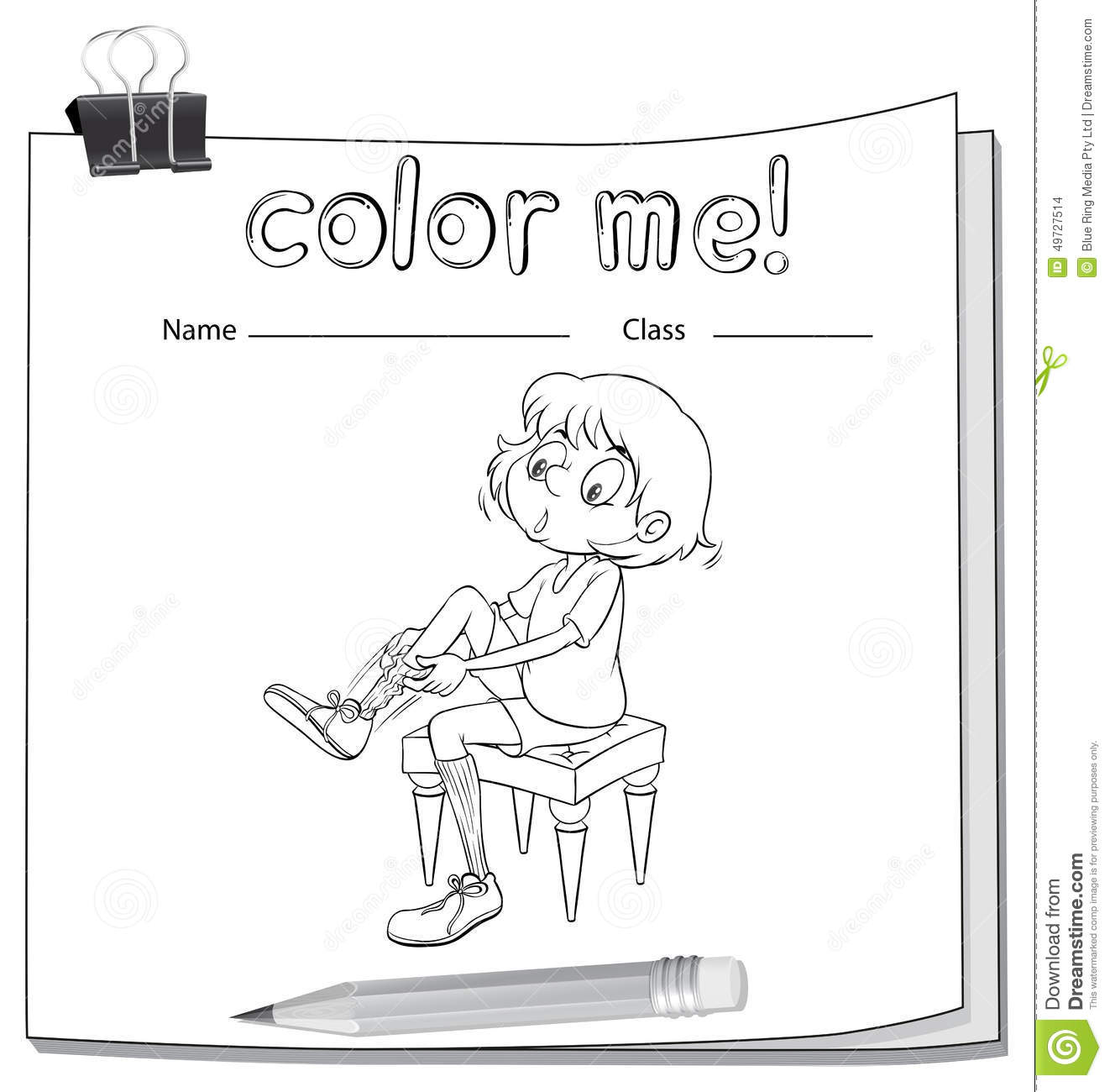 A Worksheet Showing A Girl Fixing Her Shoes Stock Vector