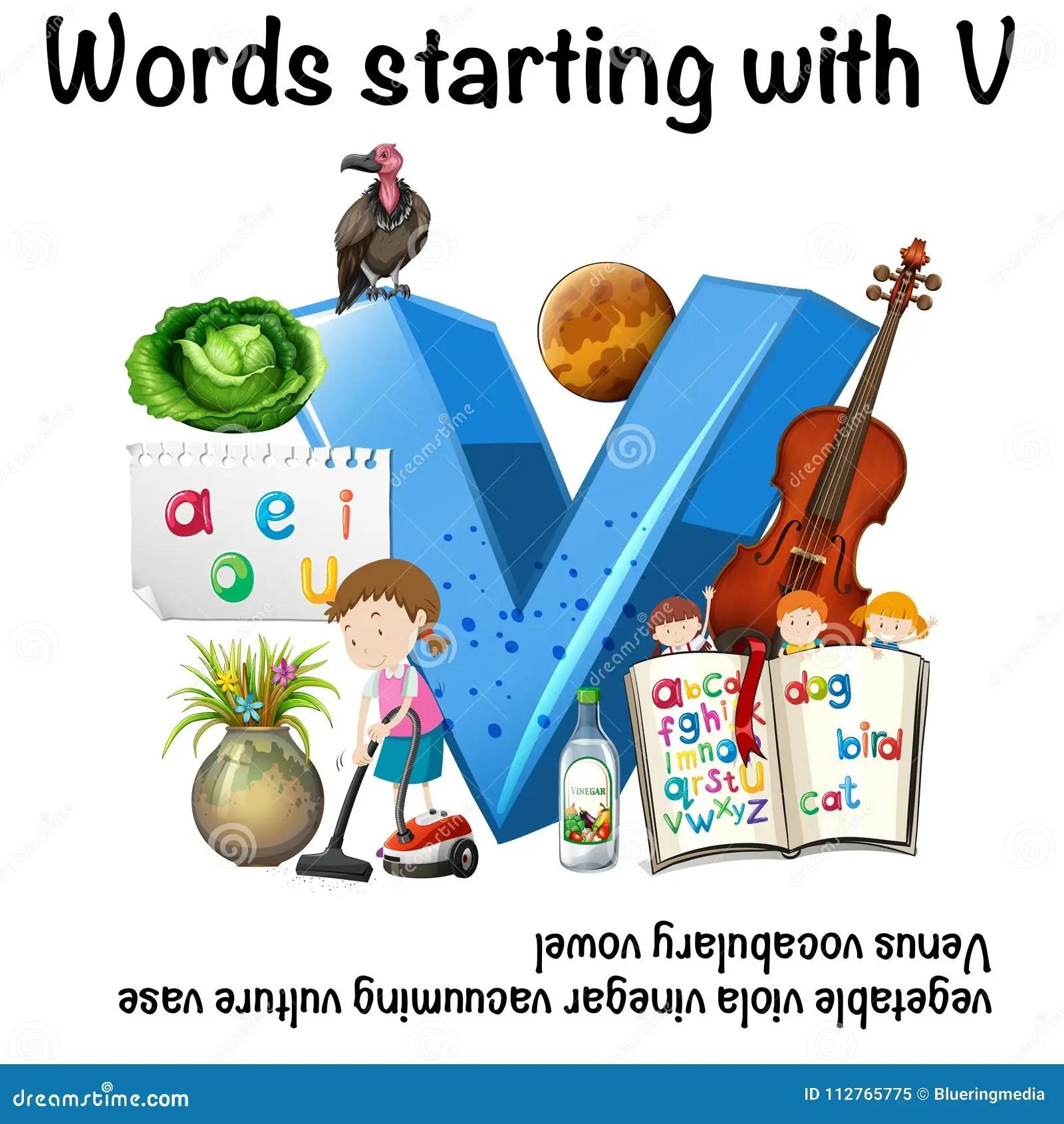 Worksheet For Words Starting With V Stock Vector