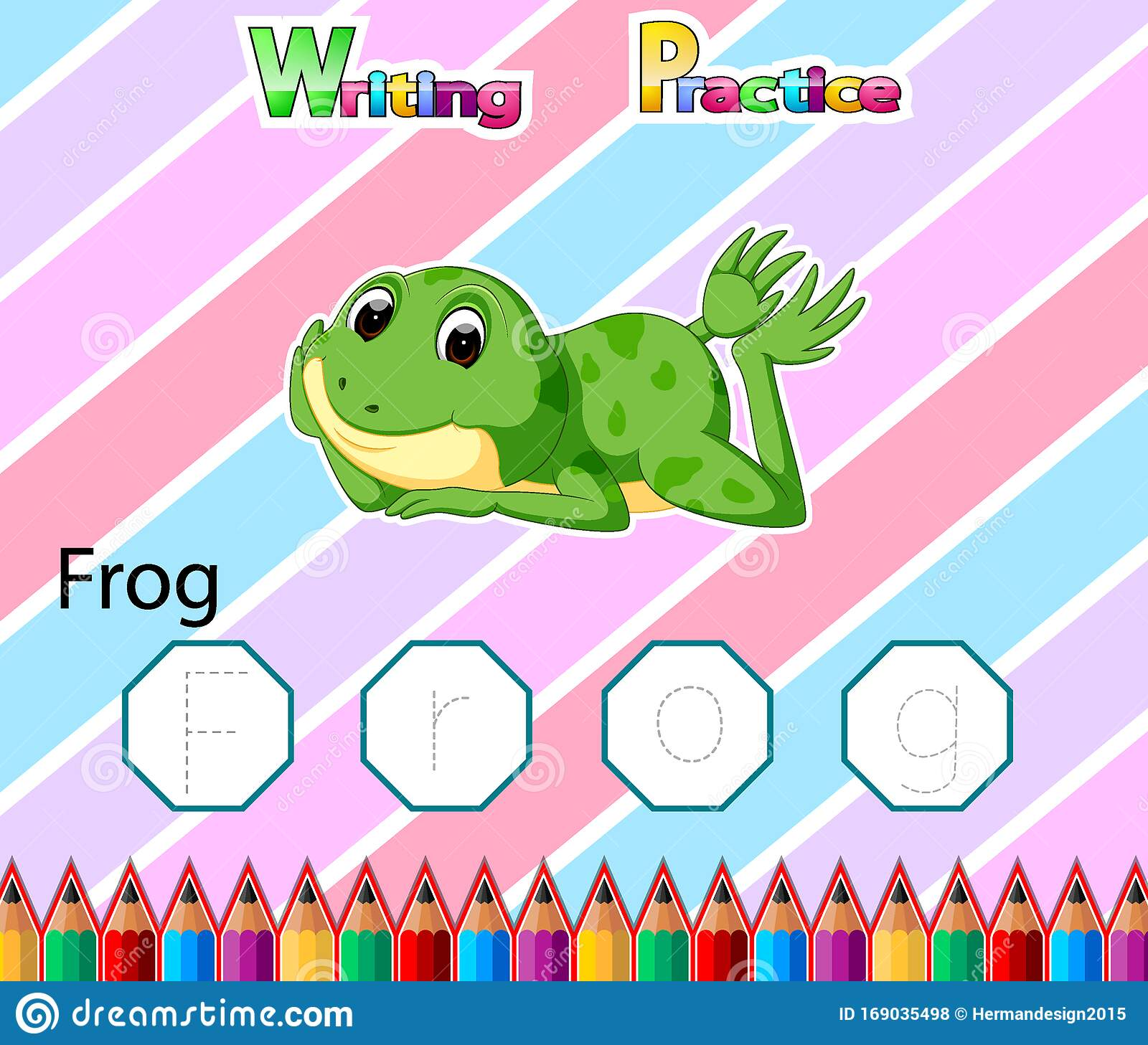 Worksheet Writing Practice Alphabet F For Frog Stock