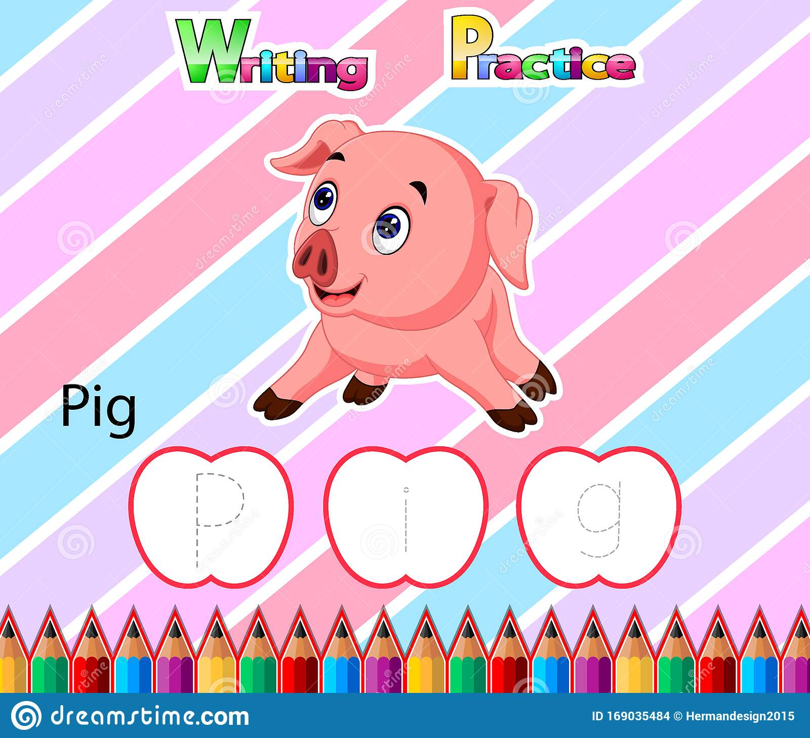 Worksheet Writing Practice Alphabet P For Pig Stock Vector