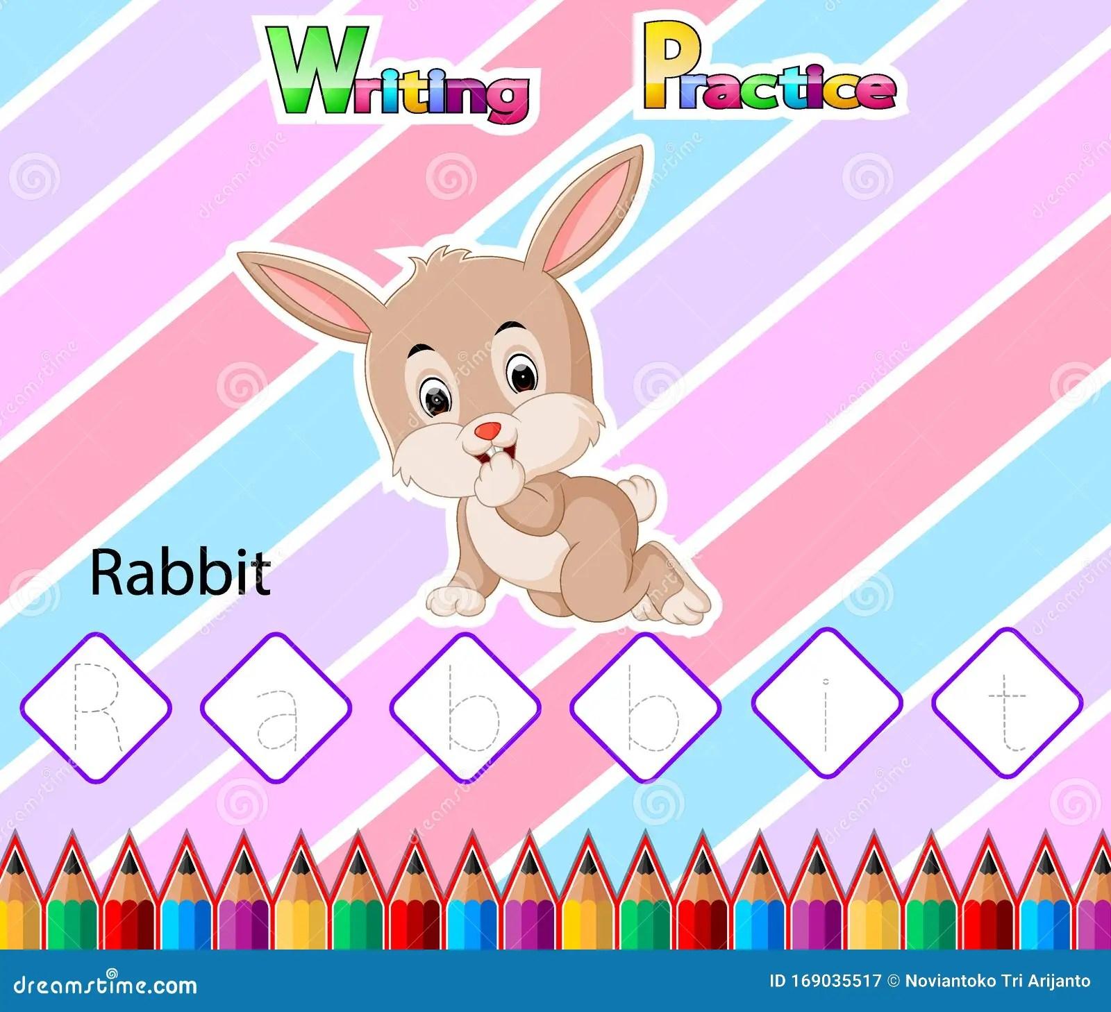 Worksheet Writing Practice Alphabet R For Rabbit Stock