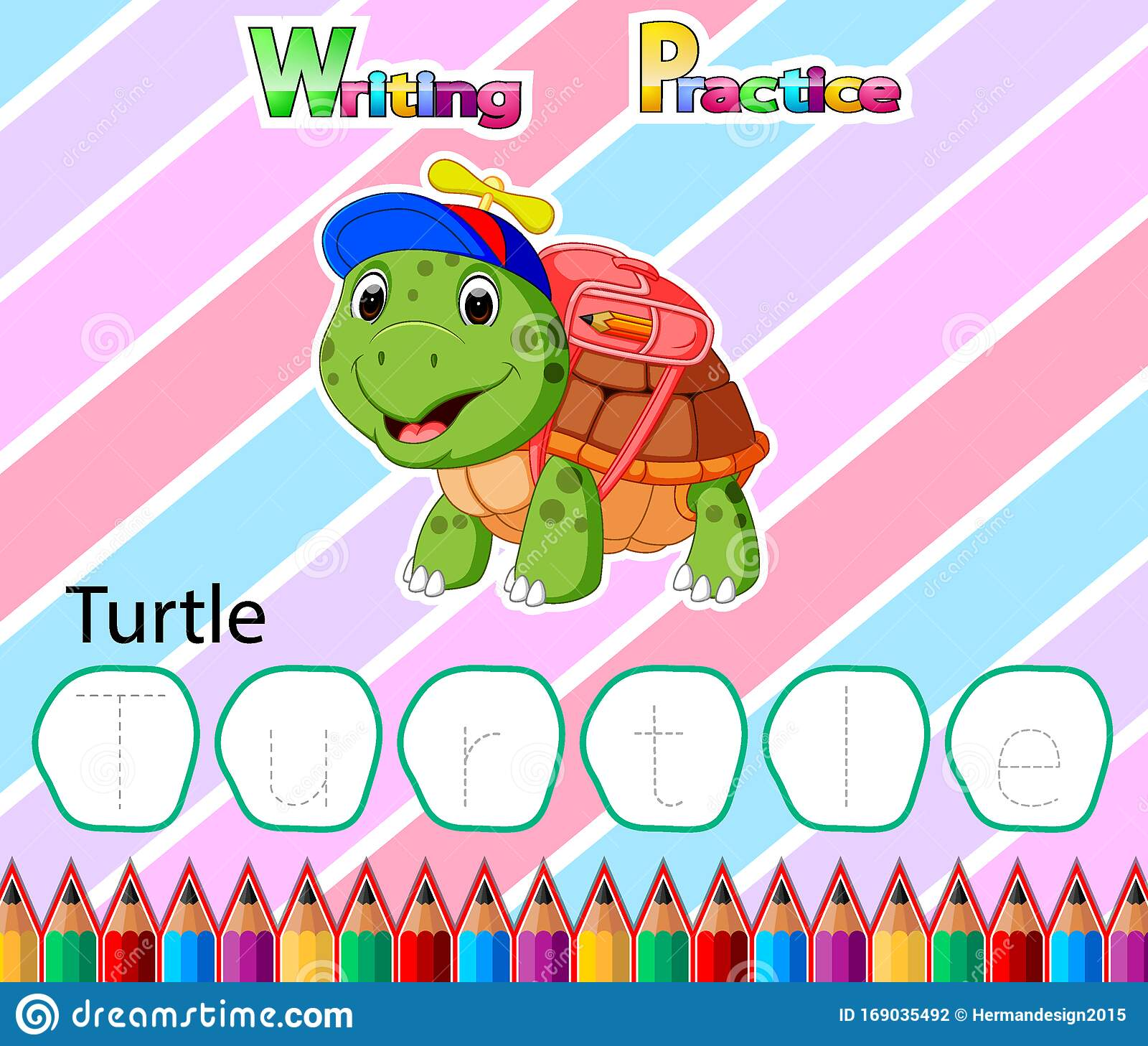 Worksheet Writing Practice Alphabet T For Turtle Stock
