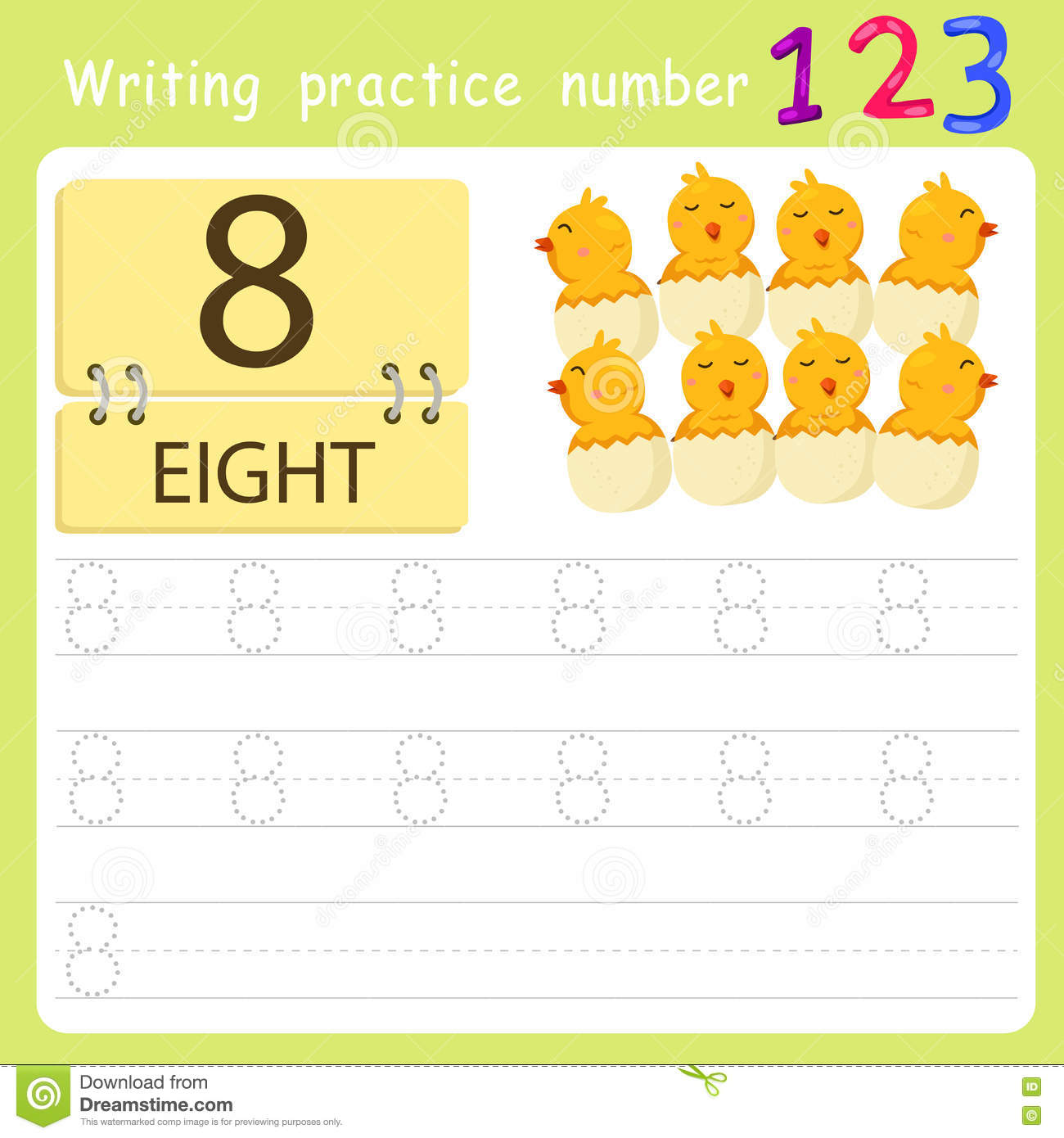Worksheet Writing Practice Number Eight Stock Vector