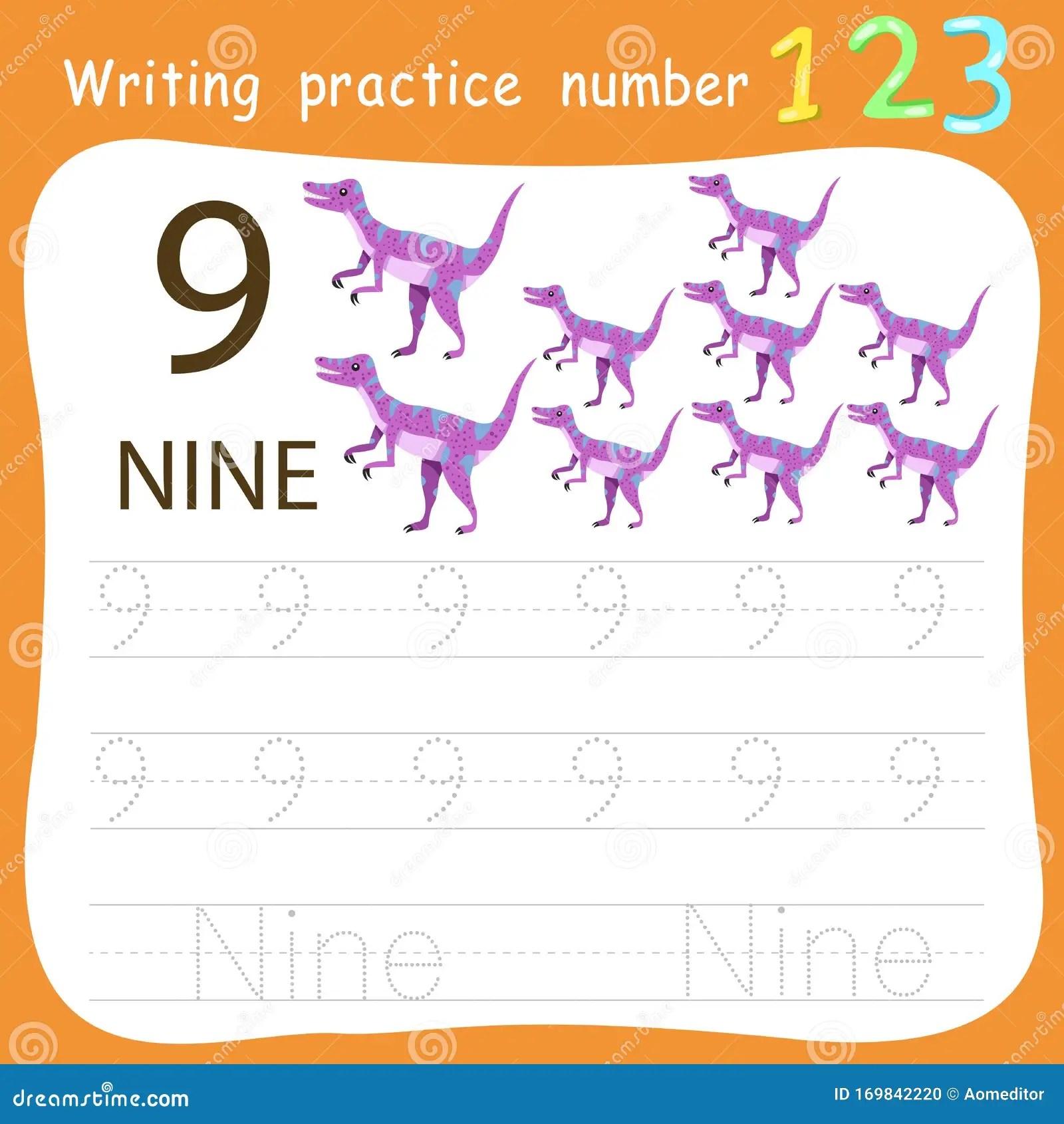 Worksheet Writing Practice Number Nine Stock Vector