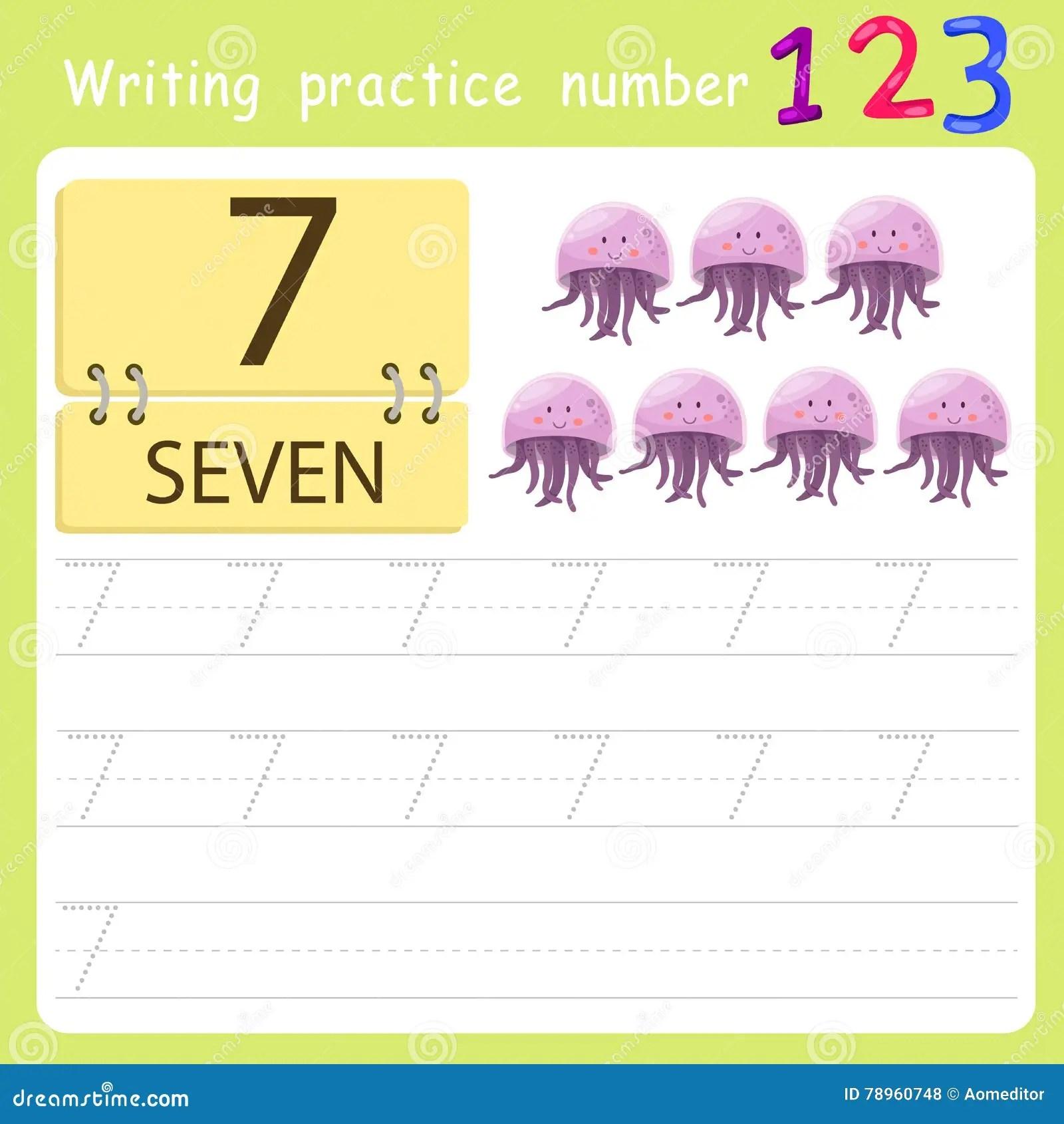 Worksheet Writing Practice Number Seven Stock Vector