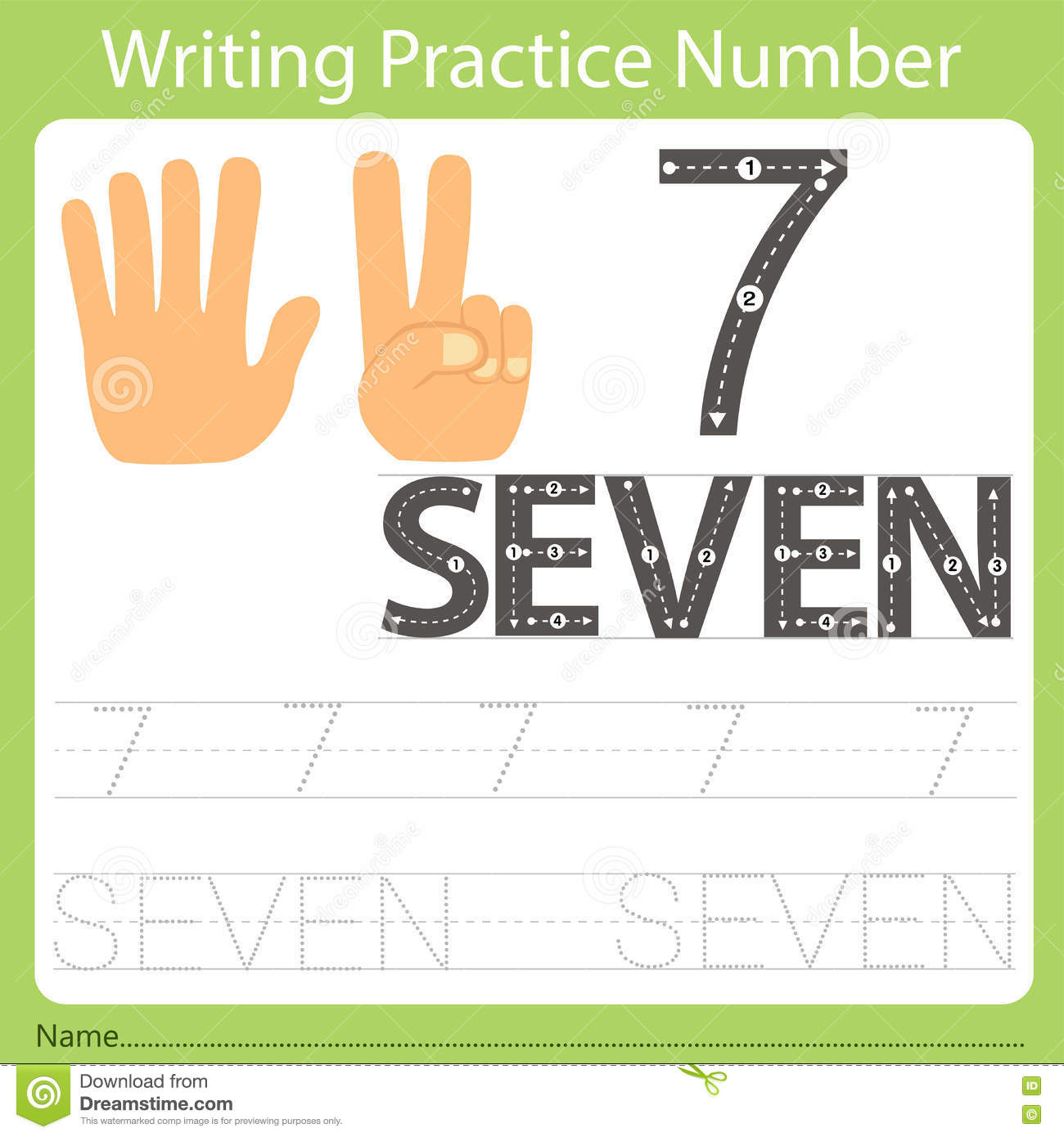 Worksheet Writing Practice Number Seven Stock Vector