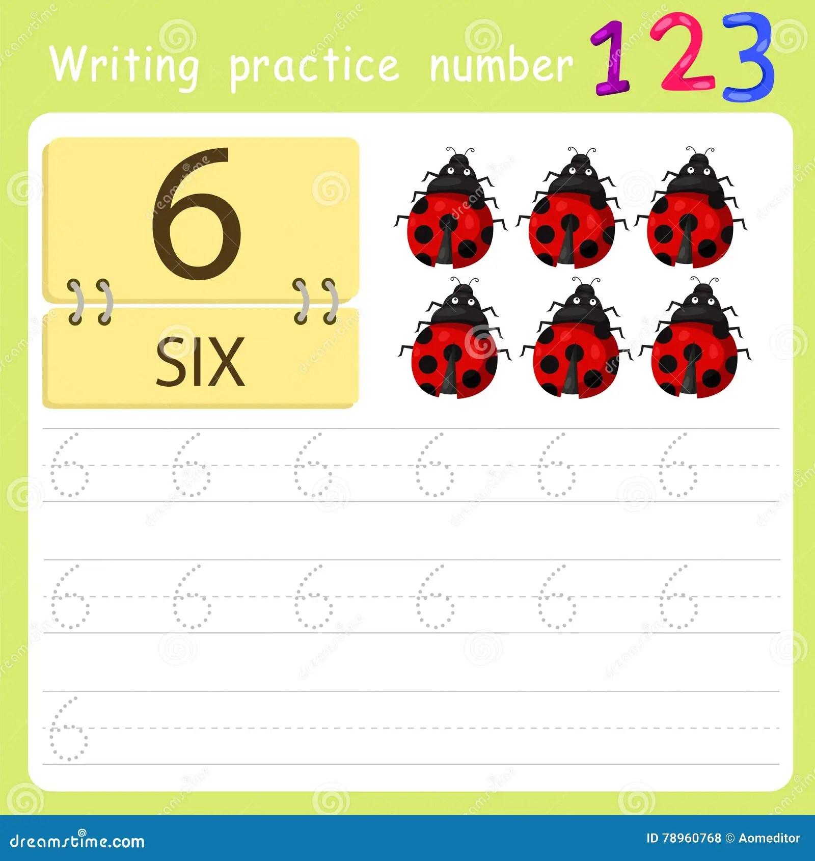 Worksheet Writing Practice Number Six Stock Vector