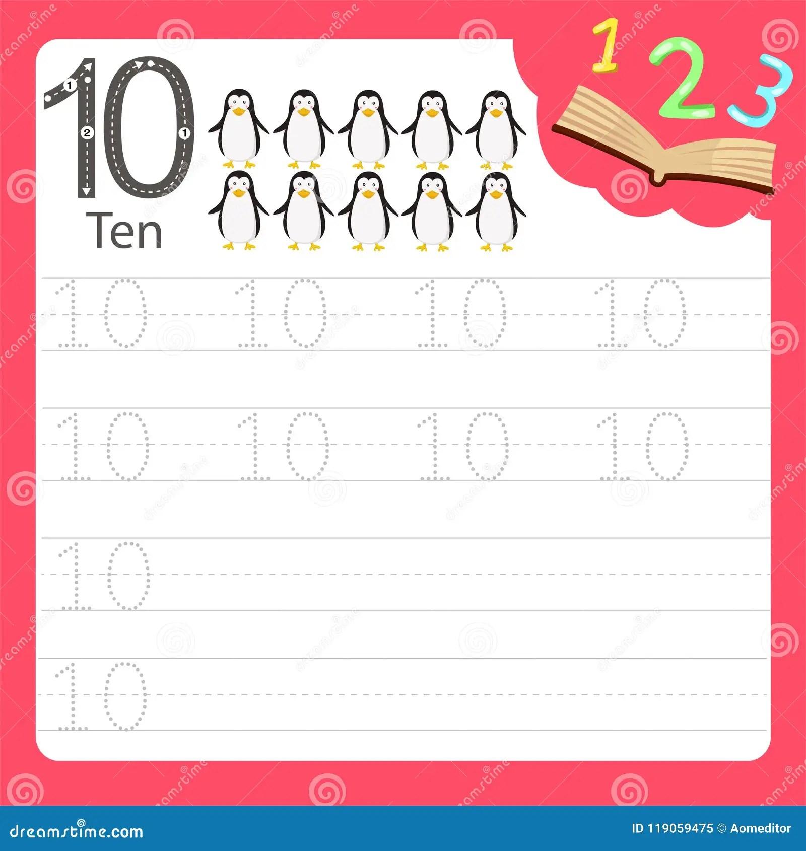 Worksheet Writing Practice Number Ten Stock Vector
