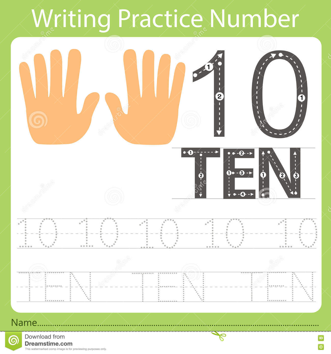 Worksheet Writing Practice Number Ten Stock Vector