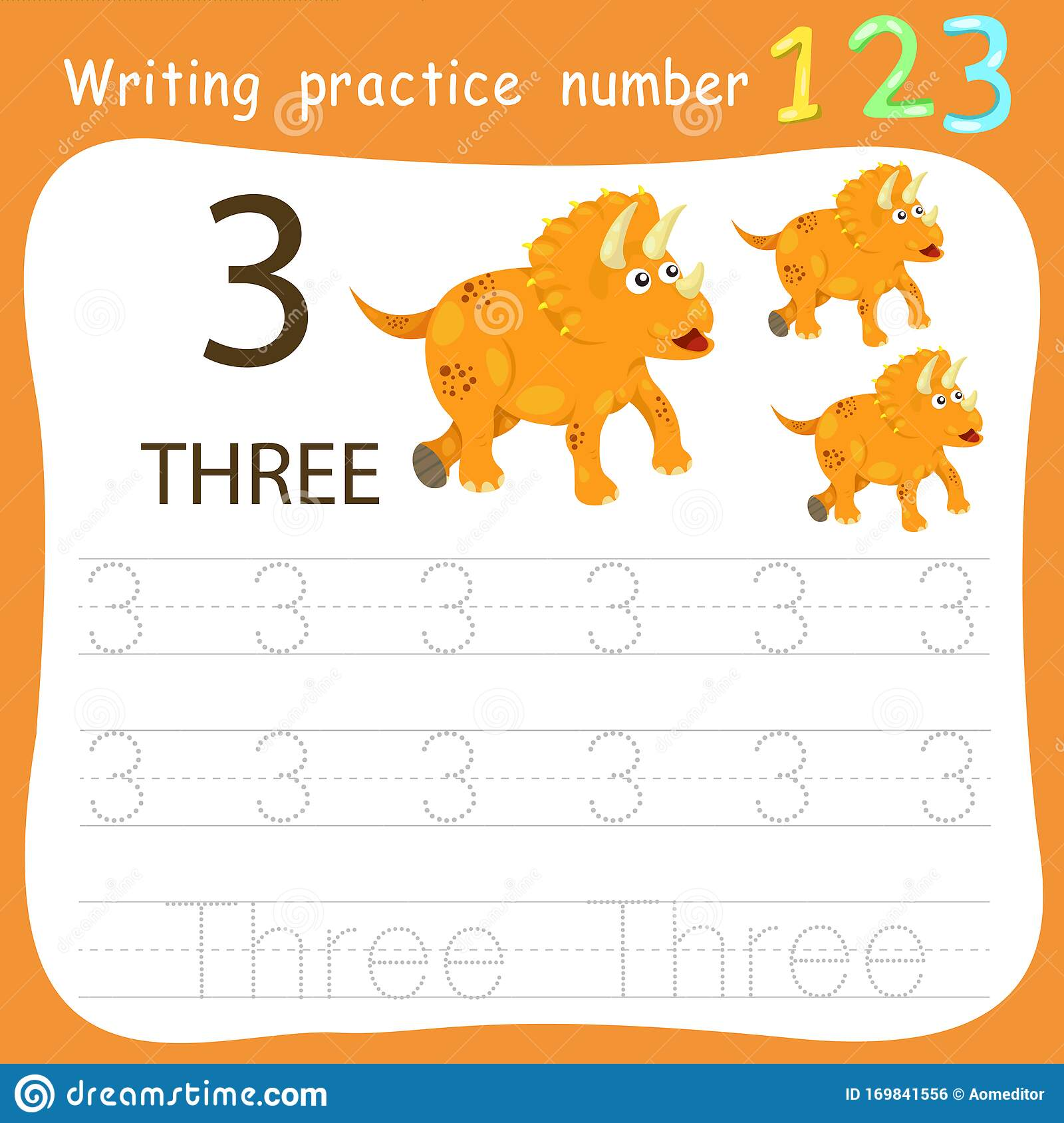 Worksheet Writing Practice Number Three Stock Vector