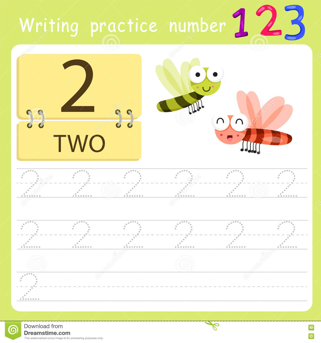 Worksheet Writing Practice Number Two Stock Vector
