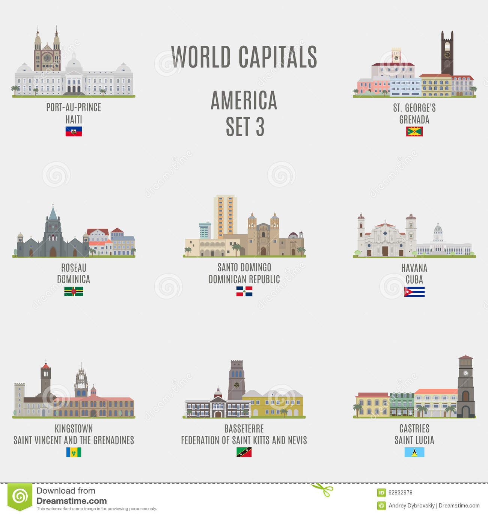 World Capitals Stock Vector