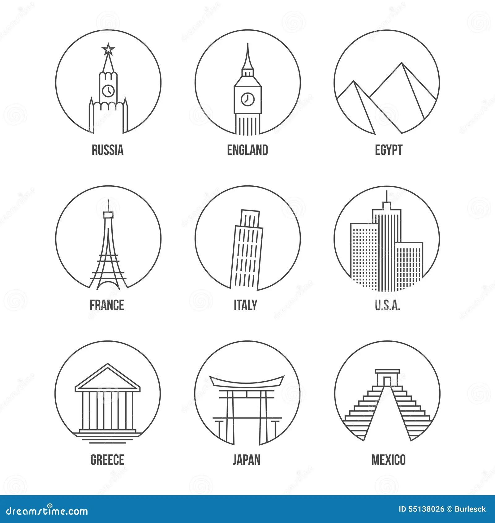World Landmark Line Art Icons Set Stock Vector