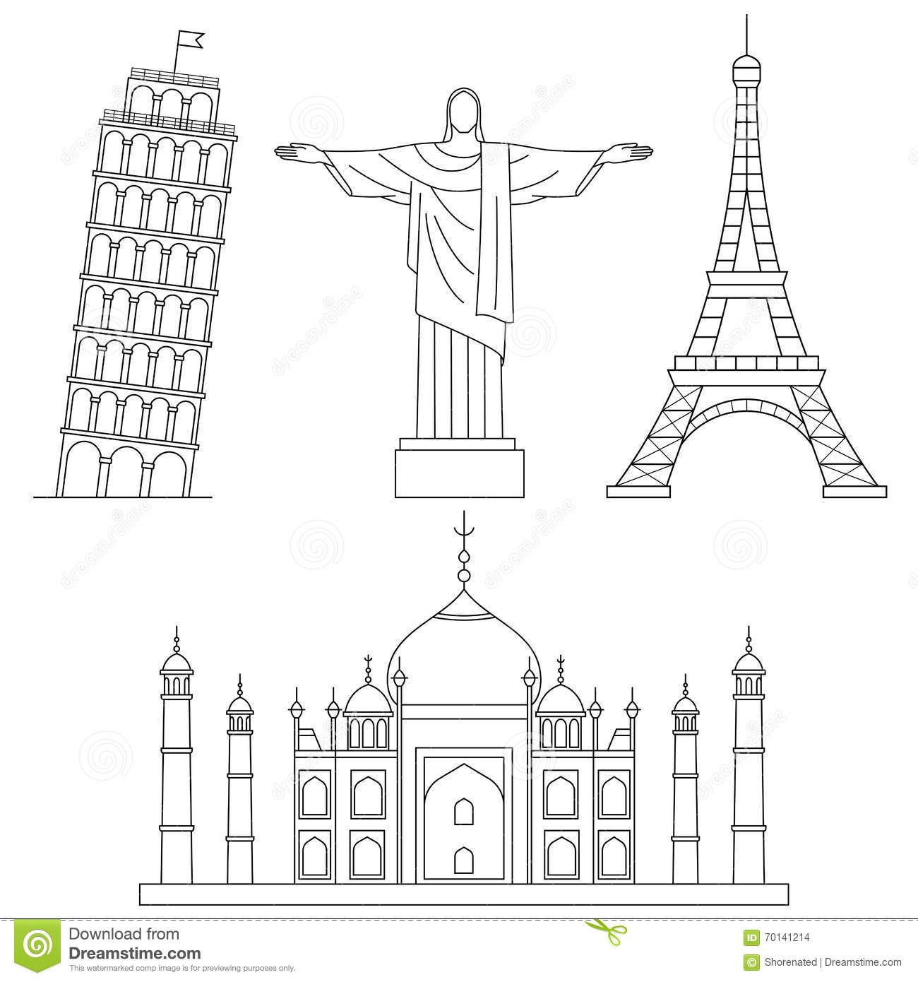 World Landmarks Stock Vector Illustration Of Building