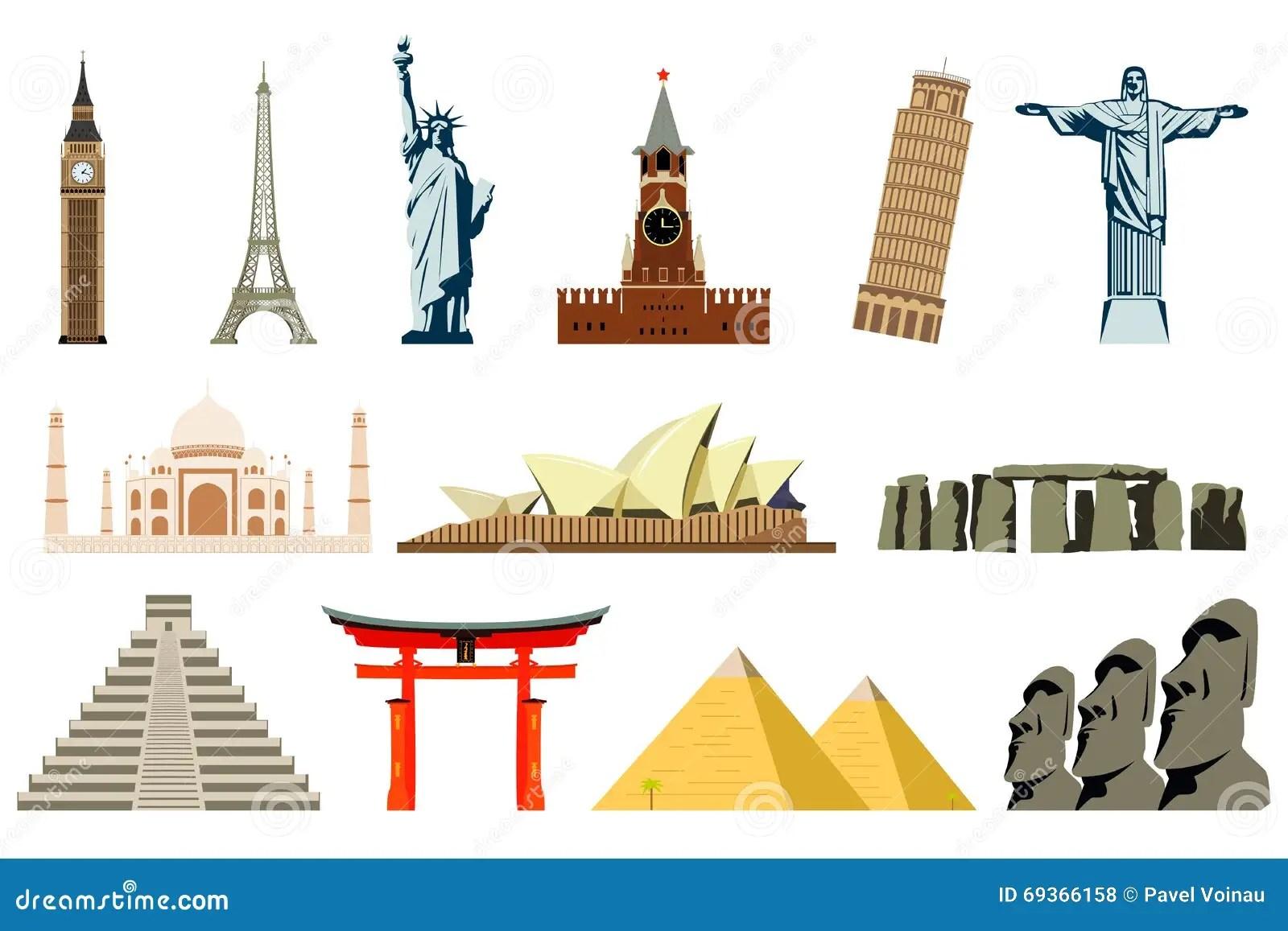 World Landmarks Vector Stock Vector Illustration Of